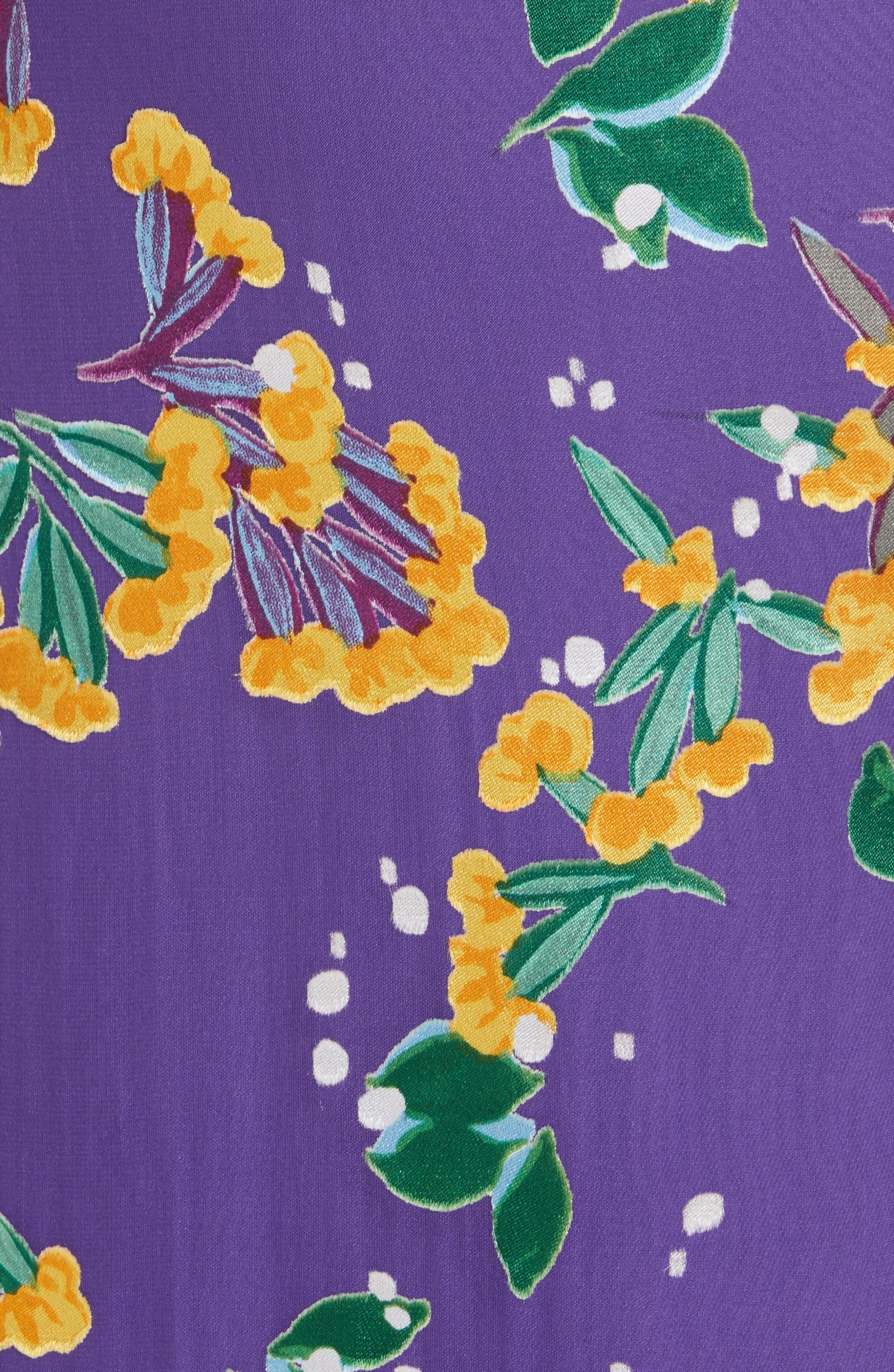 Olivia Silk Blend Midi Dress,                             Alternate thumbnail 5, color,                             VIOLET SWEETPEAS