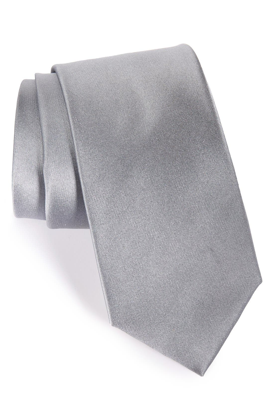 Solid Satin Silk Tie,                             Main thumbnail 4, color,