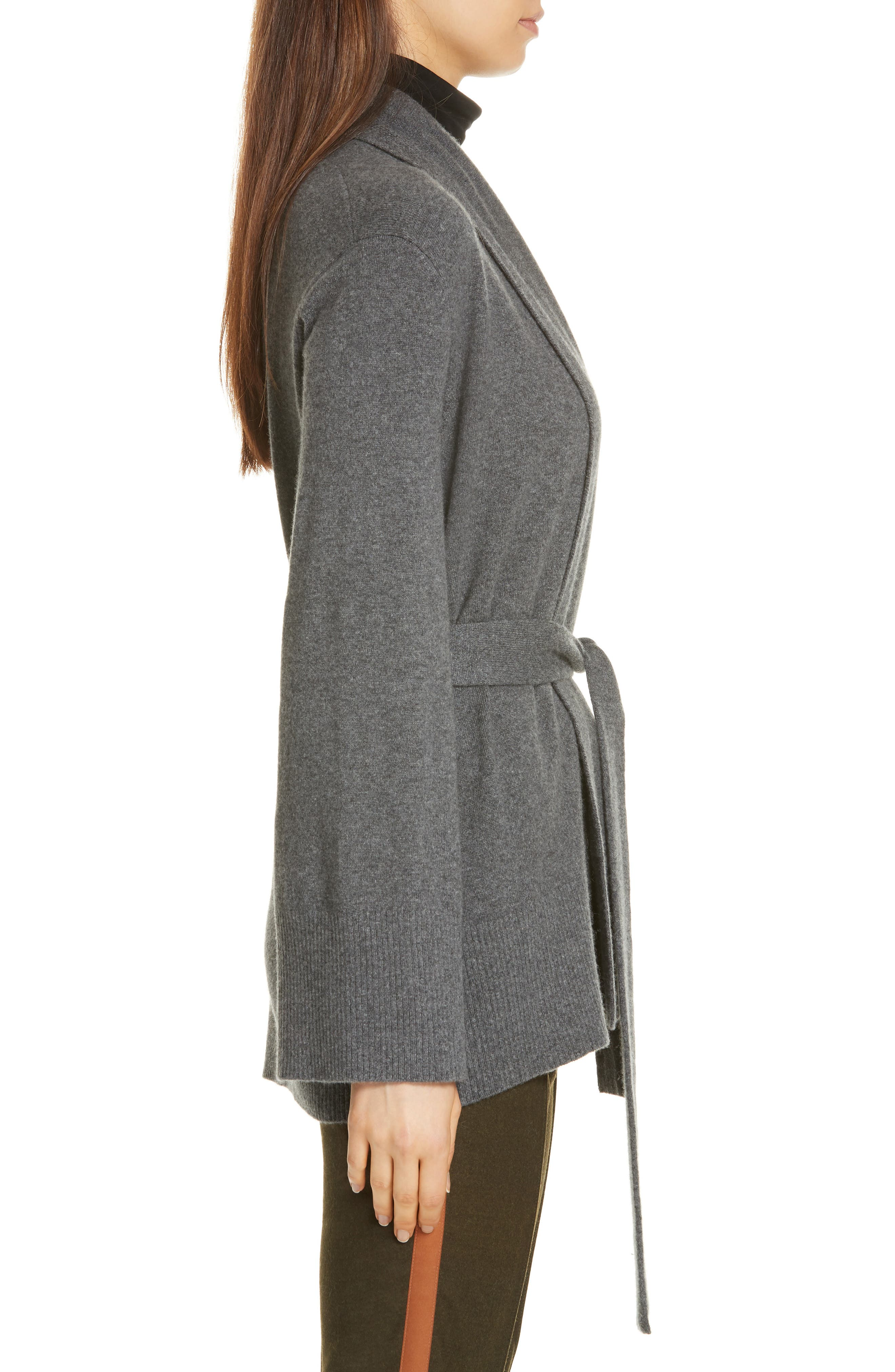 Belted Cashmere Blend Cardigan,                             Alternate thumbnail 3, color,                             GREY PEARL HEATHER
