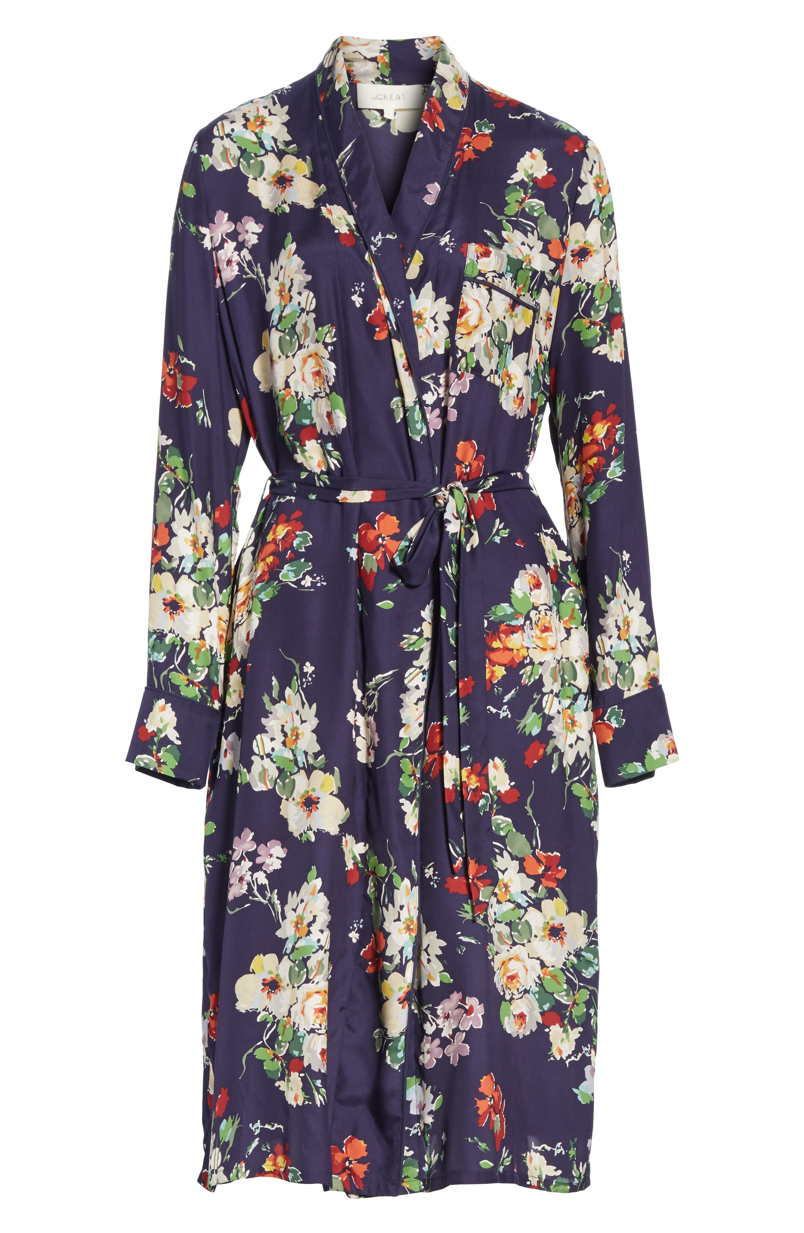 Floral Silk Robe Jacket,                             Alternate thumbnail 5, color,                             460
