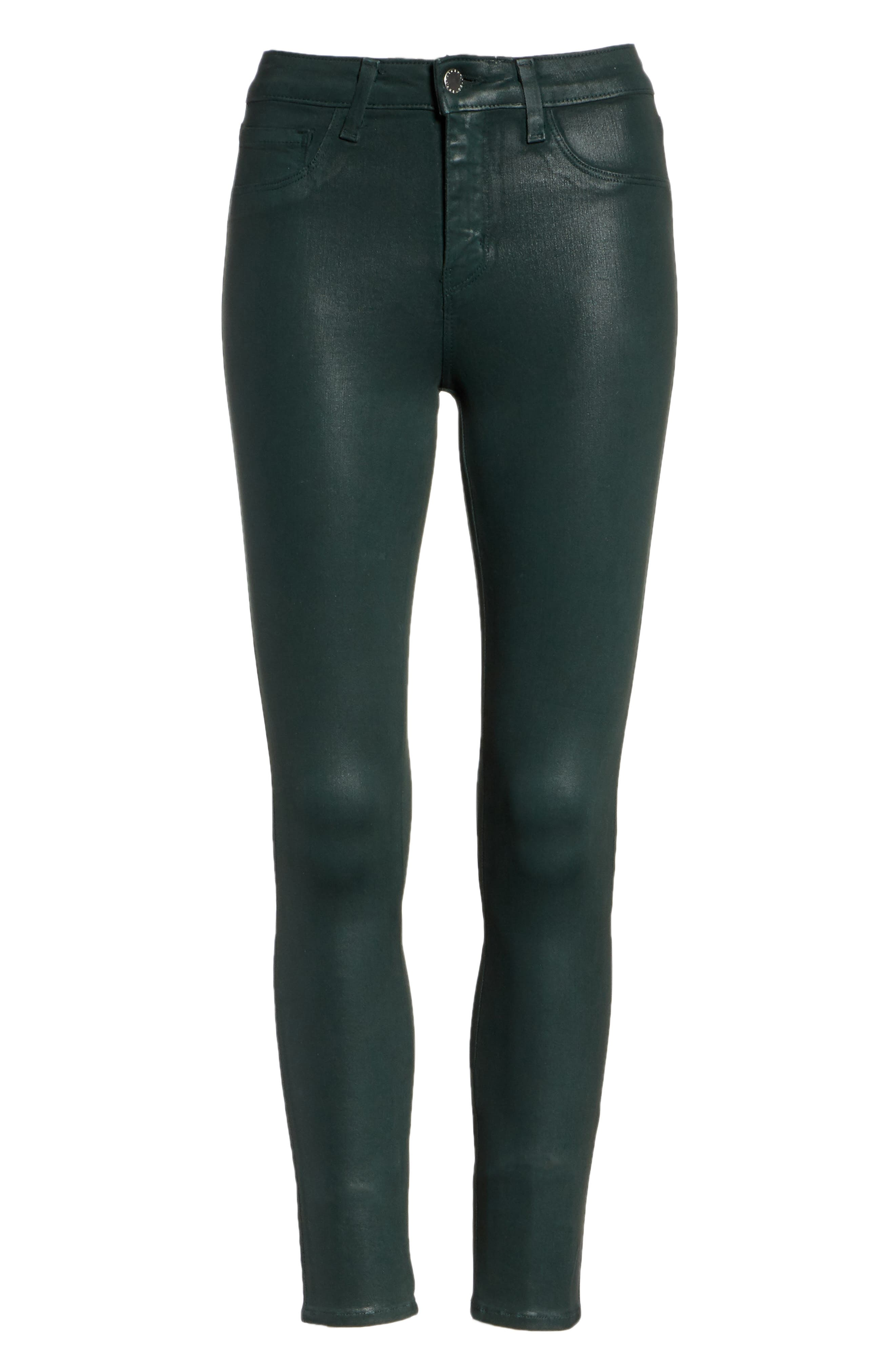 L'AGENCE,                             Margot Coated Crop Skinny Jeans,                             Alternate thumbnail 7, color,                             EVERGREEN COATED