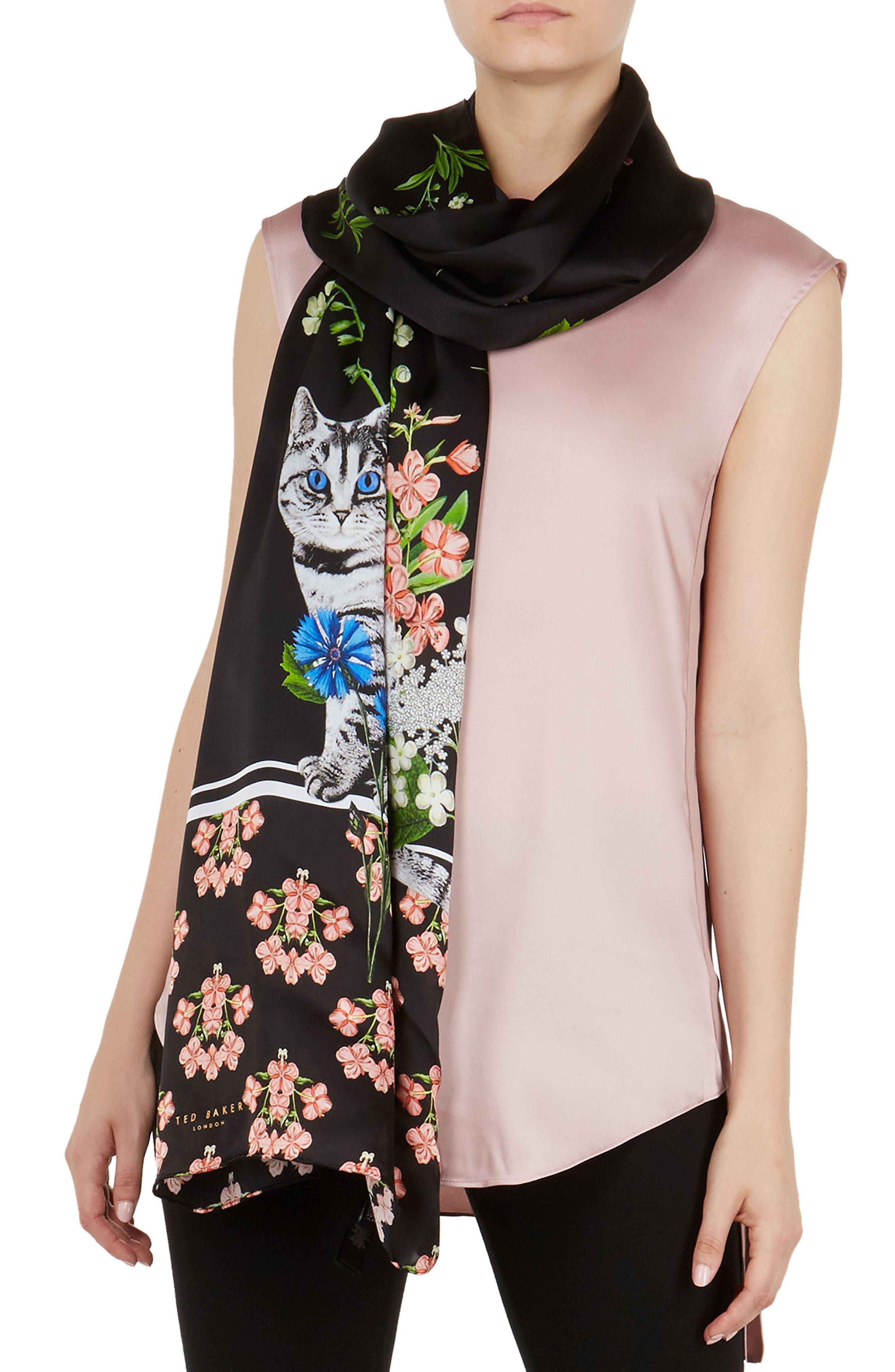 Florence Long Silk Scarf,                         Main,                         color, BLACK