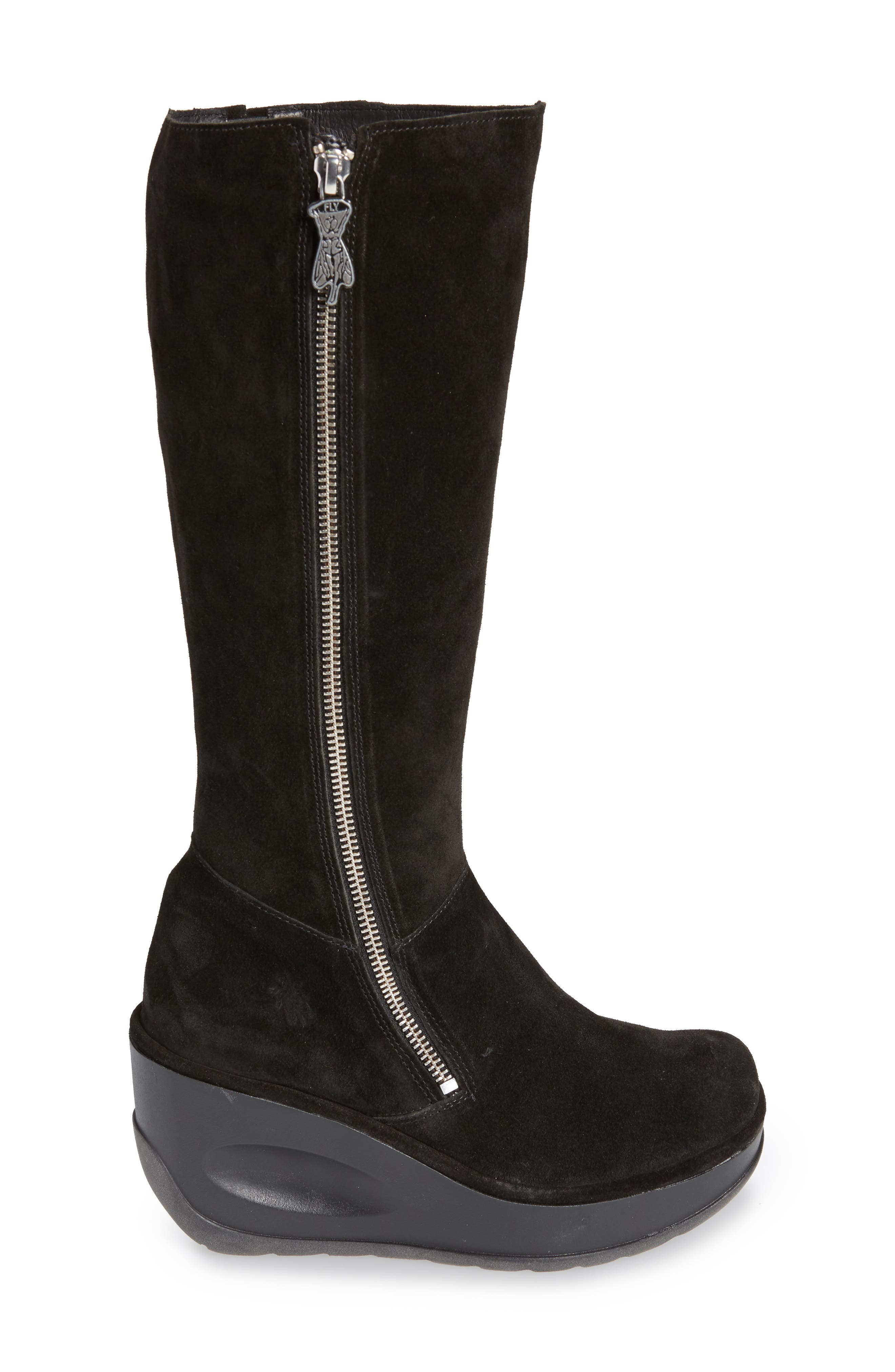Jate Wedge Boot,                             Alternate thumbnail 3, color,                             BLACK OIL SUEDE