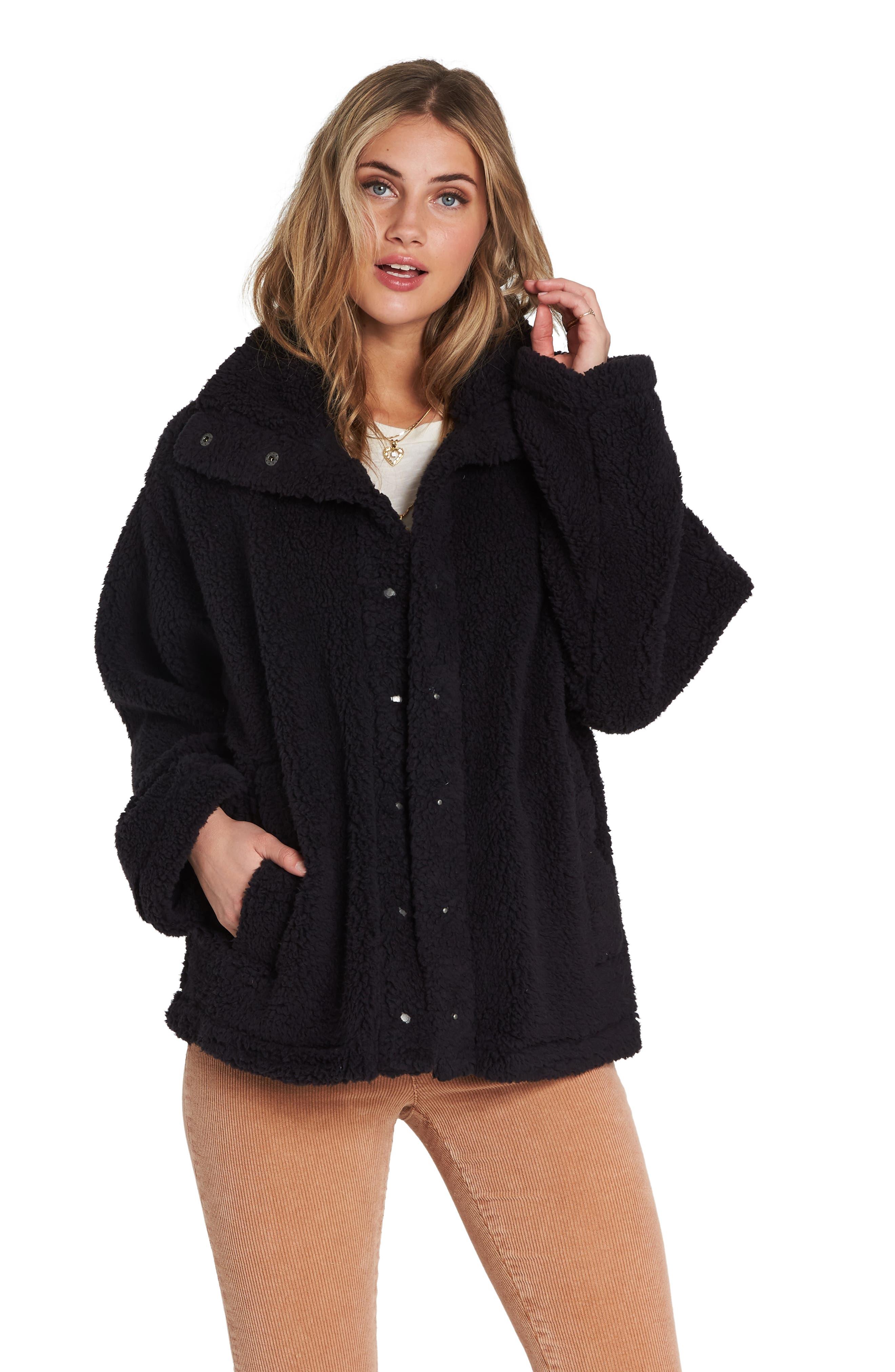 Cozy Days Faux Fur Jacket,                             Alternate thumbnail 4, color,                             BLACK