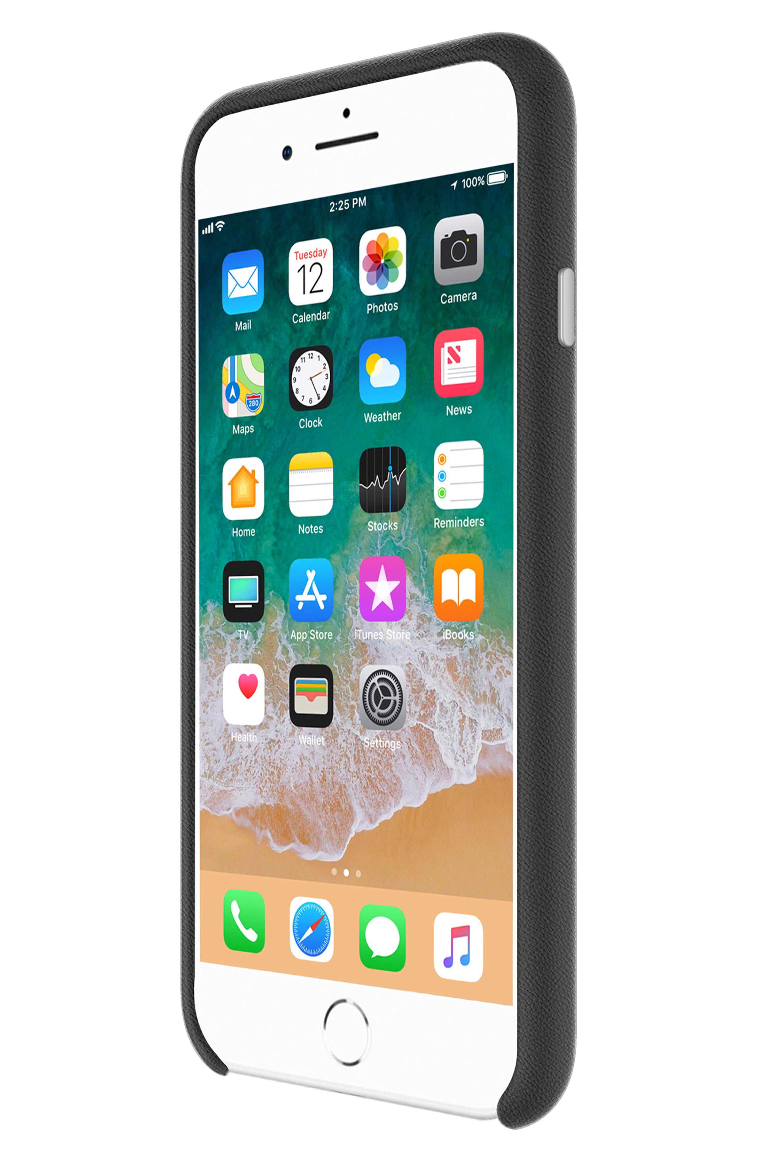 Leather Wrap iPhone 8 Plus Case,                             Alternate thumbnail 3, color,                             BLACK