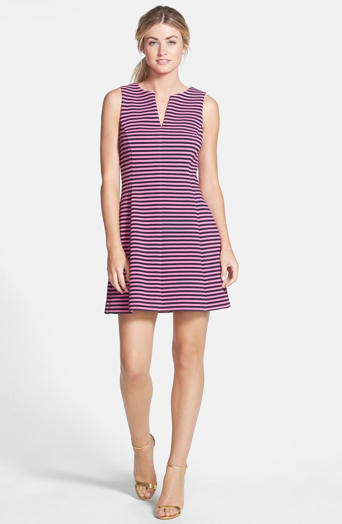 'Brielle' Stripe Fit & Flare Dress,                             Alternate thumbnail 2, color,                             650