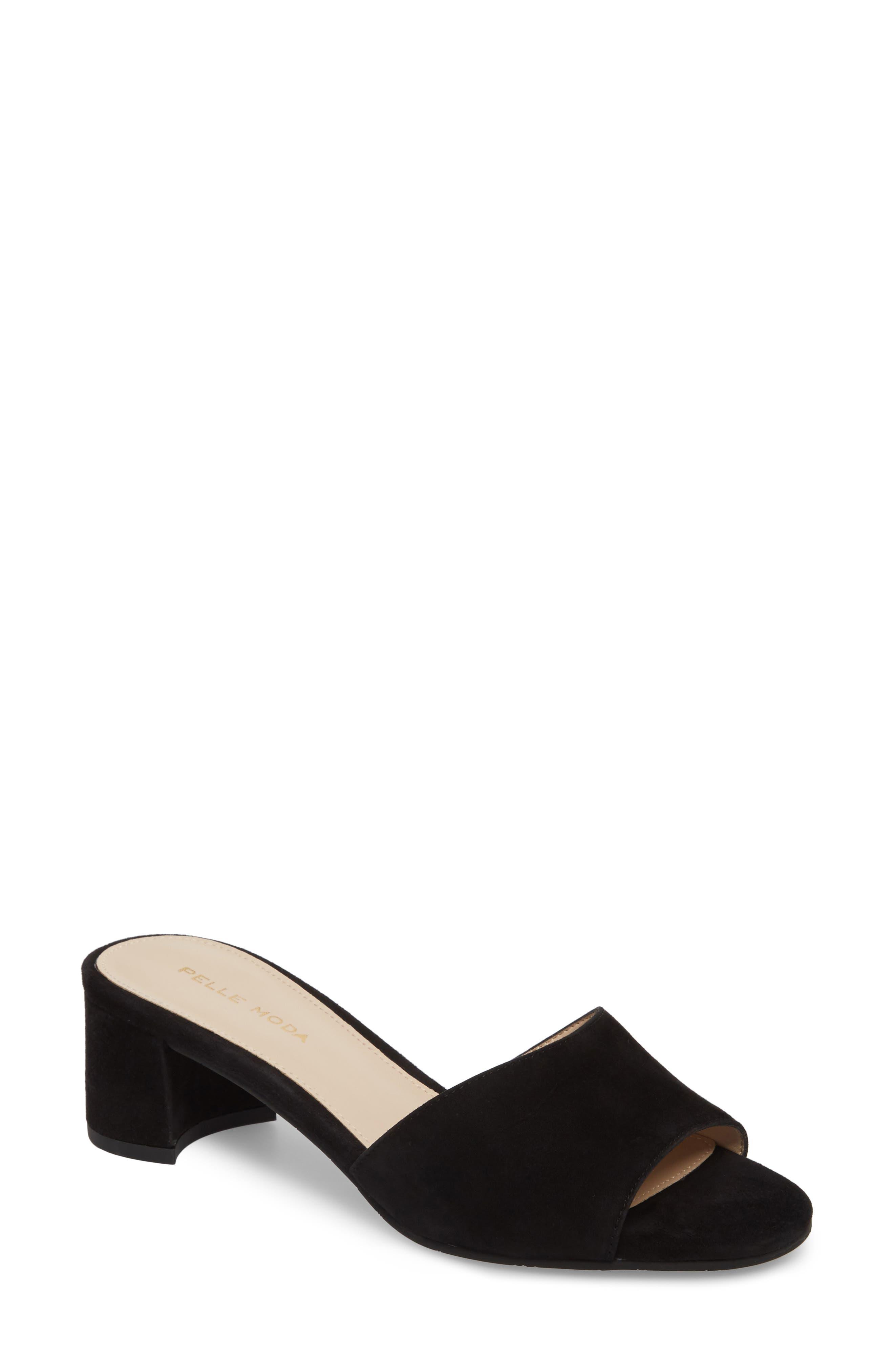 Rea Block Heel Slide Sandal,                             Main thumbnail 1, color,                             001