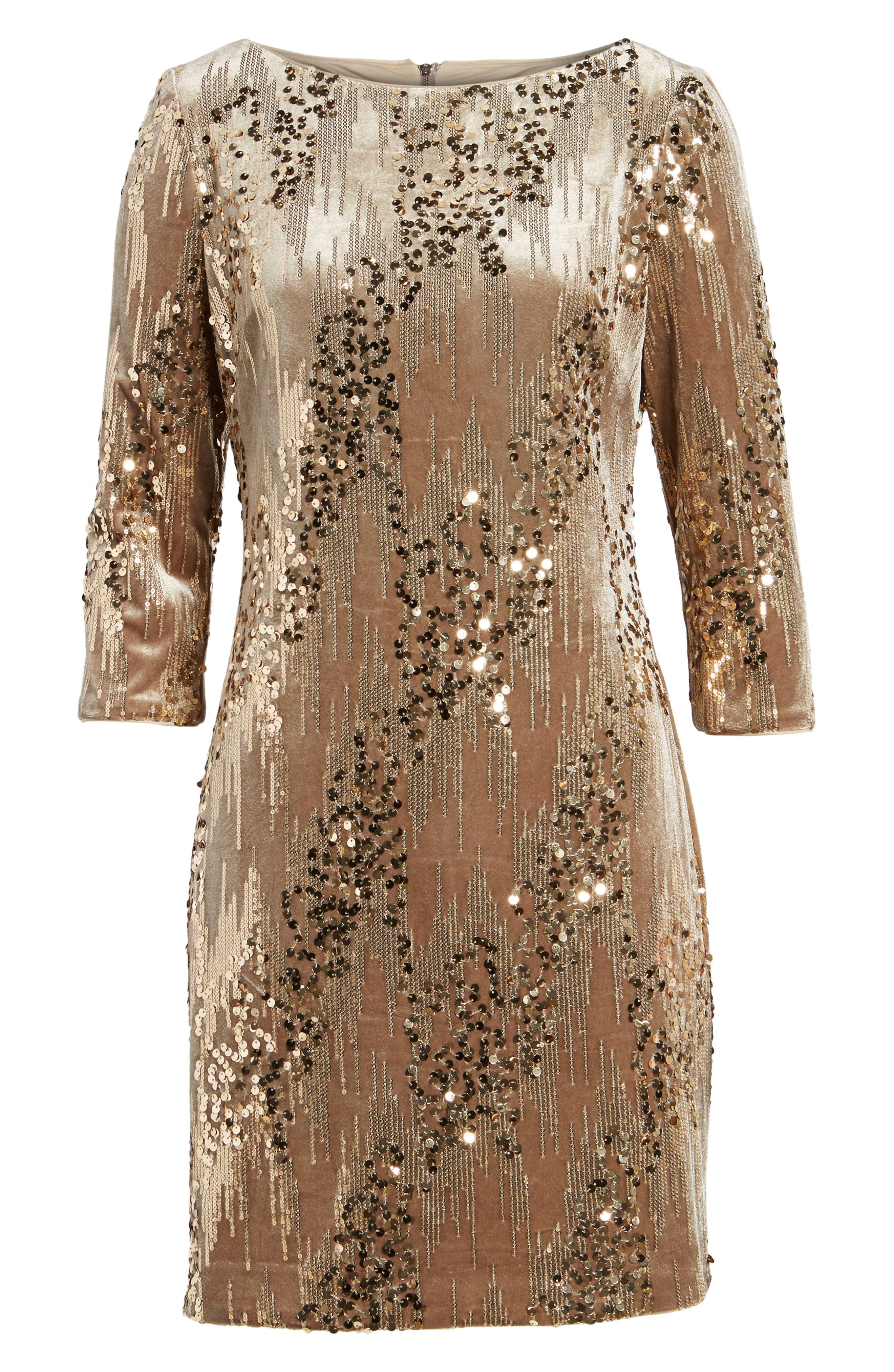 Sequin & Velvet Sheath Dress,                             Alternate thumbnail 6, color,