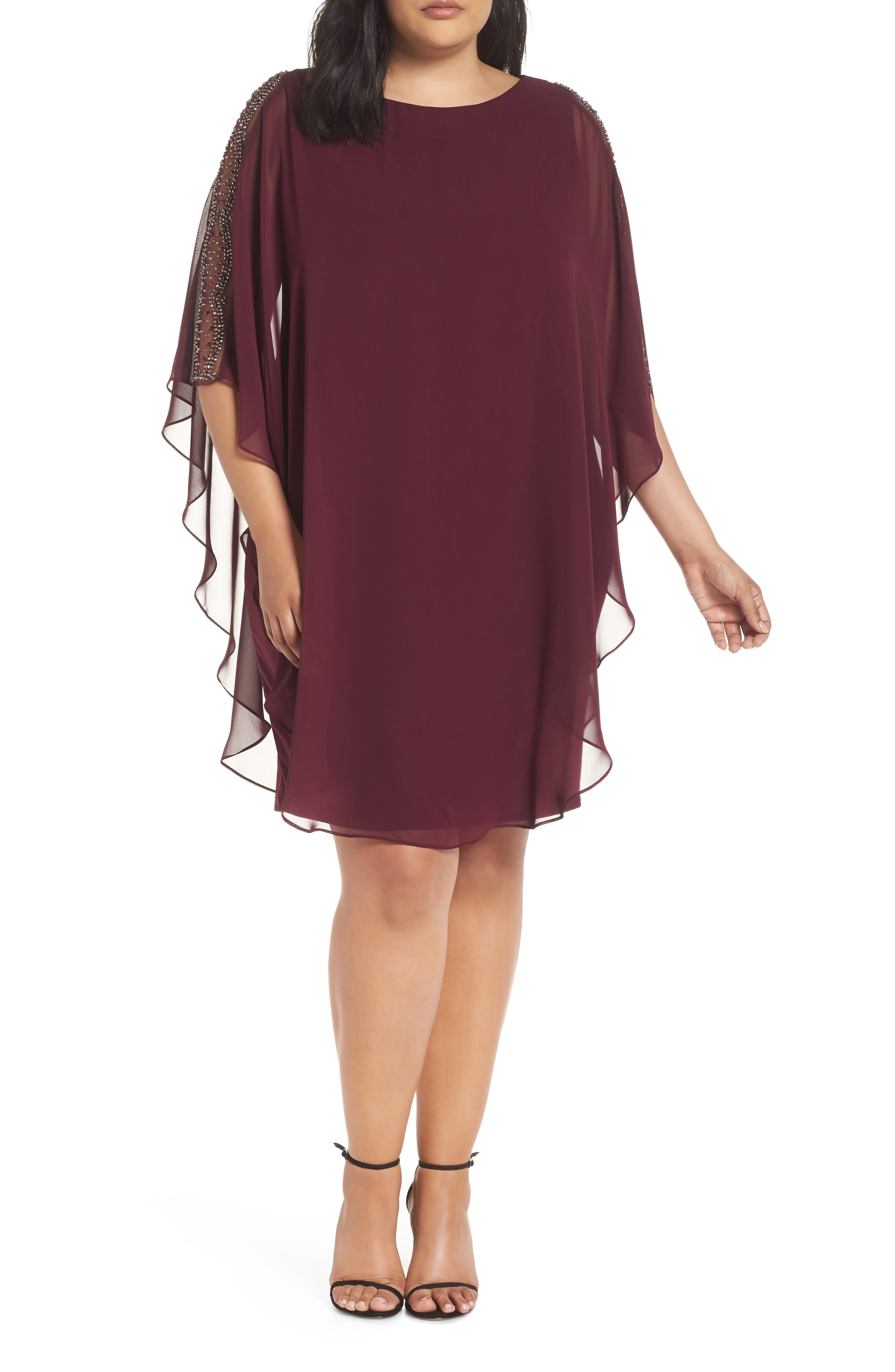Plus Size Xscape Chiffon Overlay Beaded Sleeve Cocktail Dress, Red