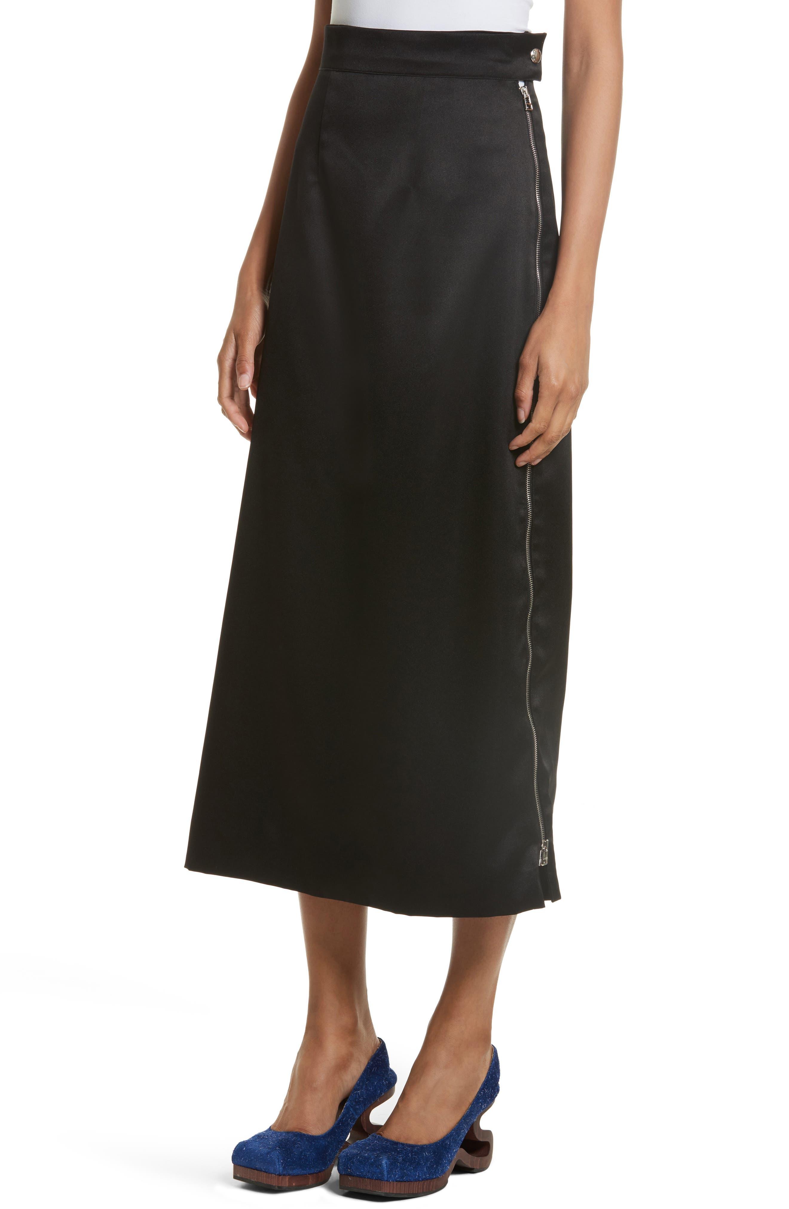 Side Zip Midi Skirt,                             Alternate thumbnail 4, color,                             001