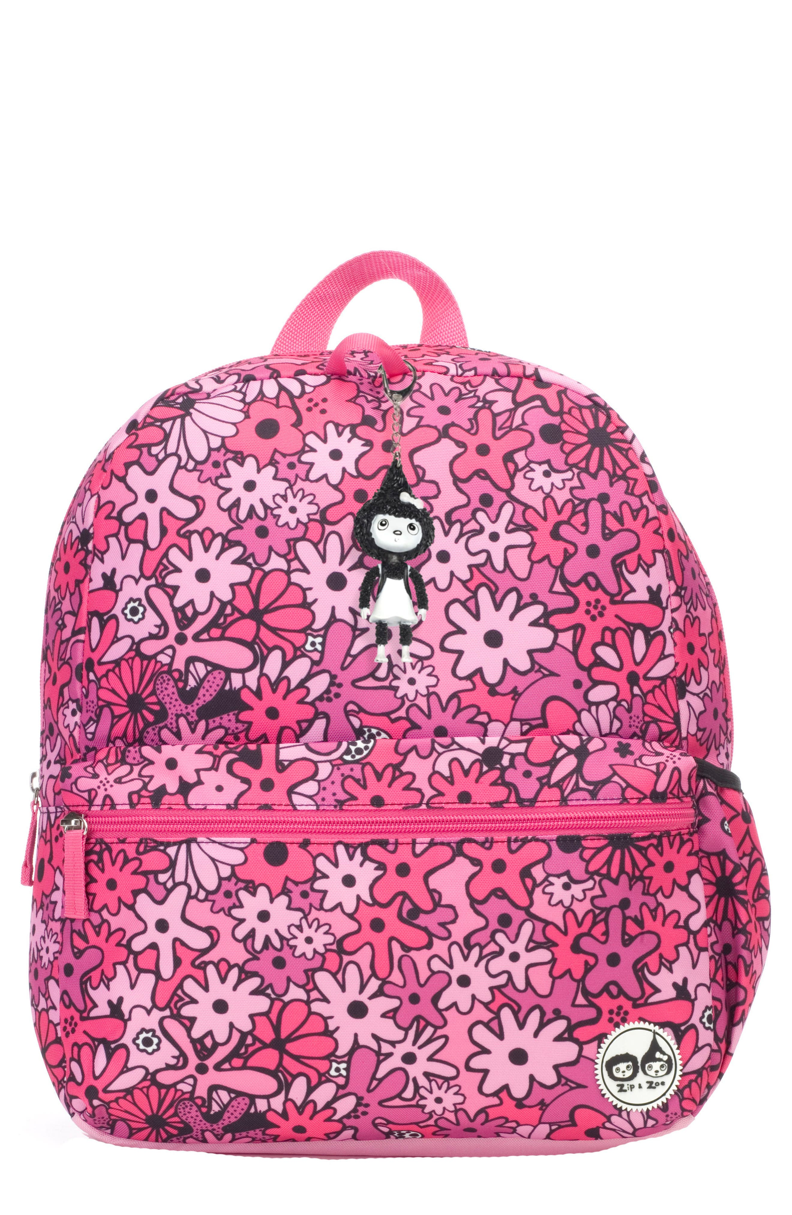 Zip & Zoe Floral Junior Backpack,                             Main thumbnail 1, color,                             FLORAL PINK