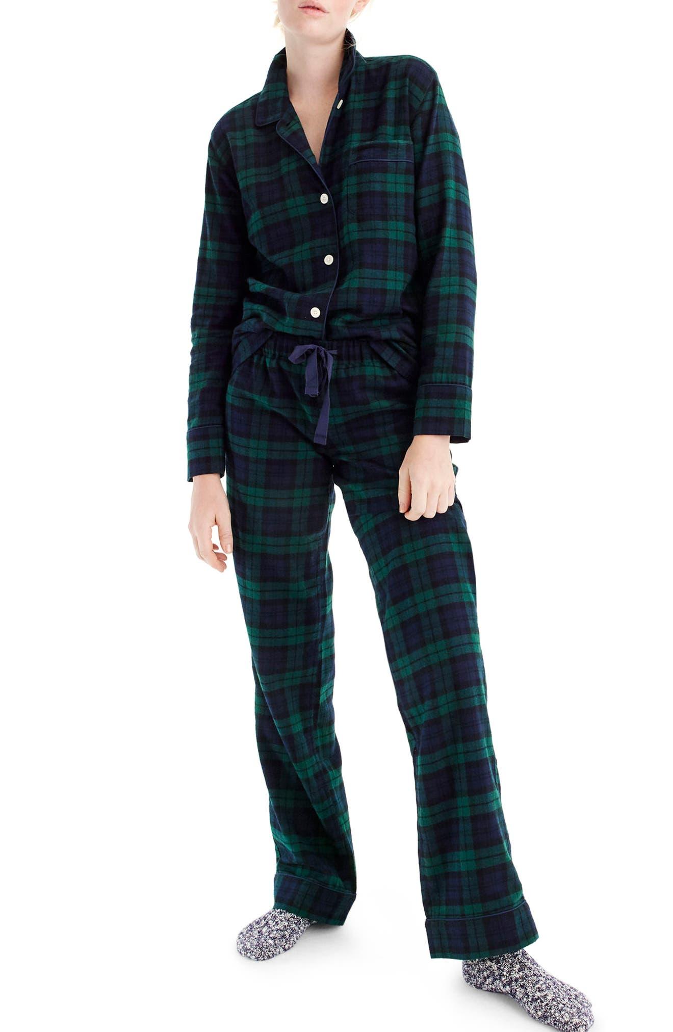 J.CREW,                             Blackwatch Flannel Pajamas,                             Main thumbnail 1, color,                             001