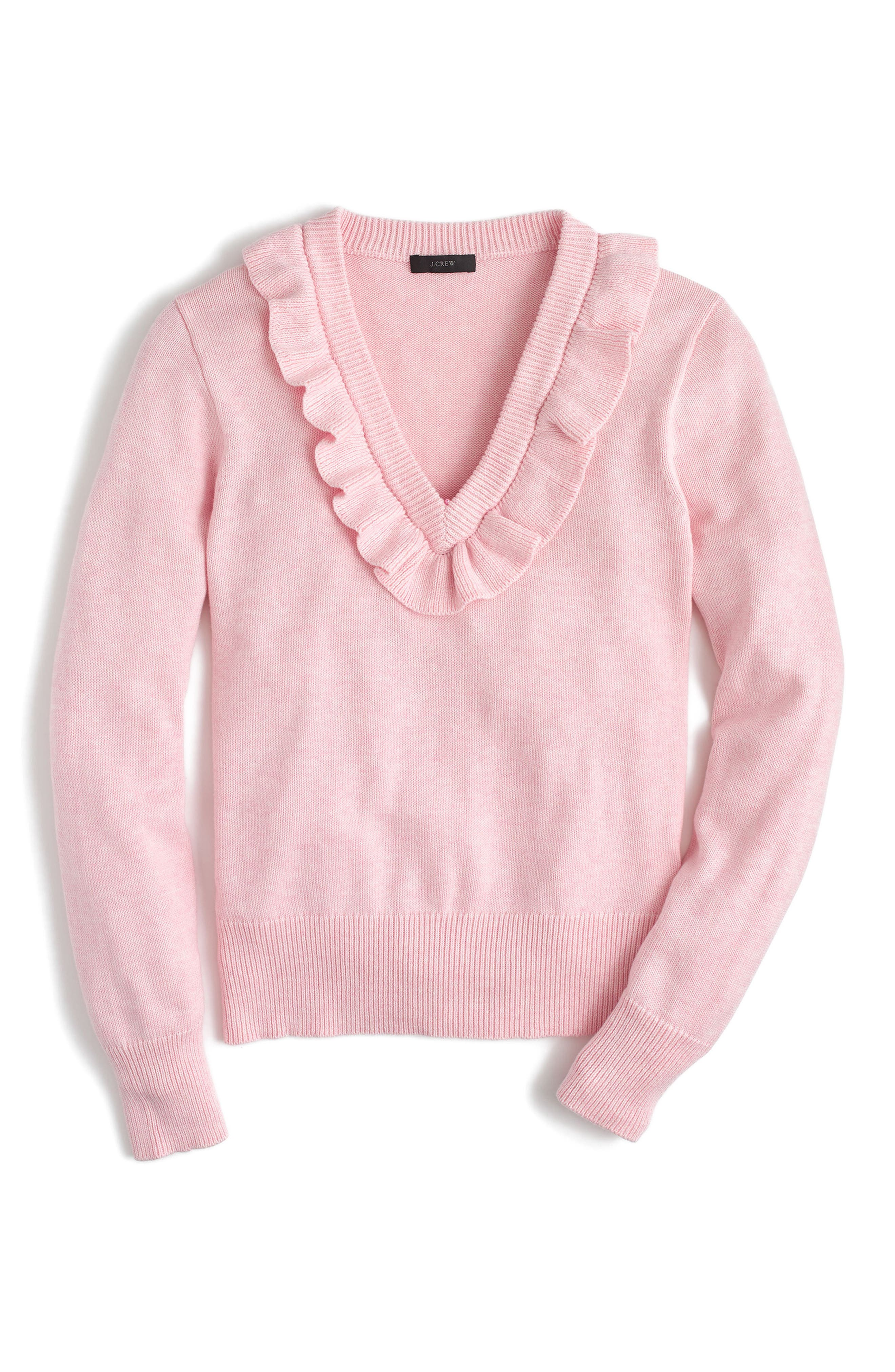Ruffle V-Neck Sweater,                             Main thumbnail 3, color,