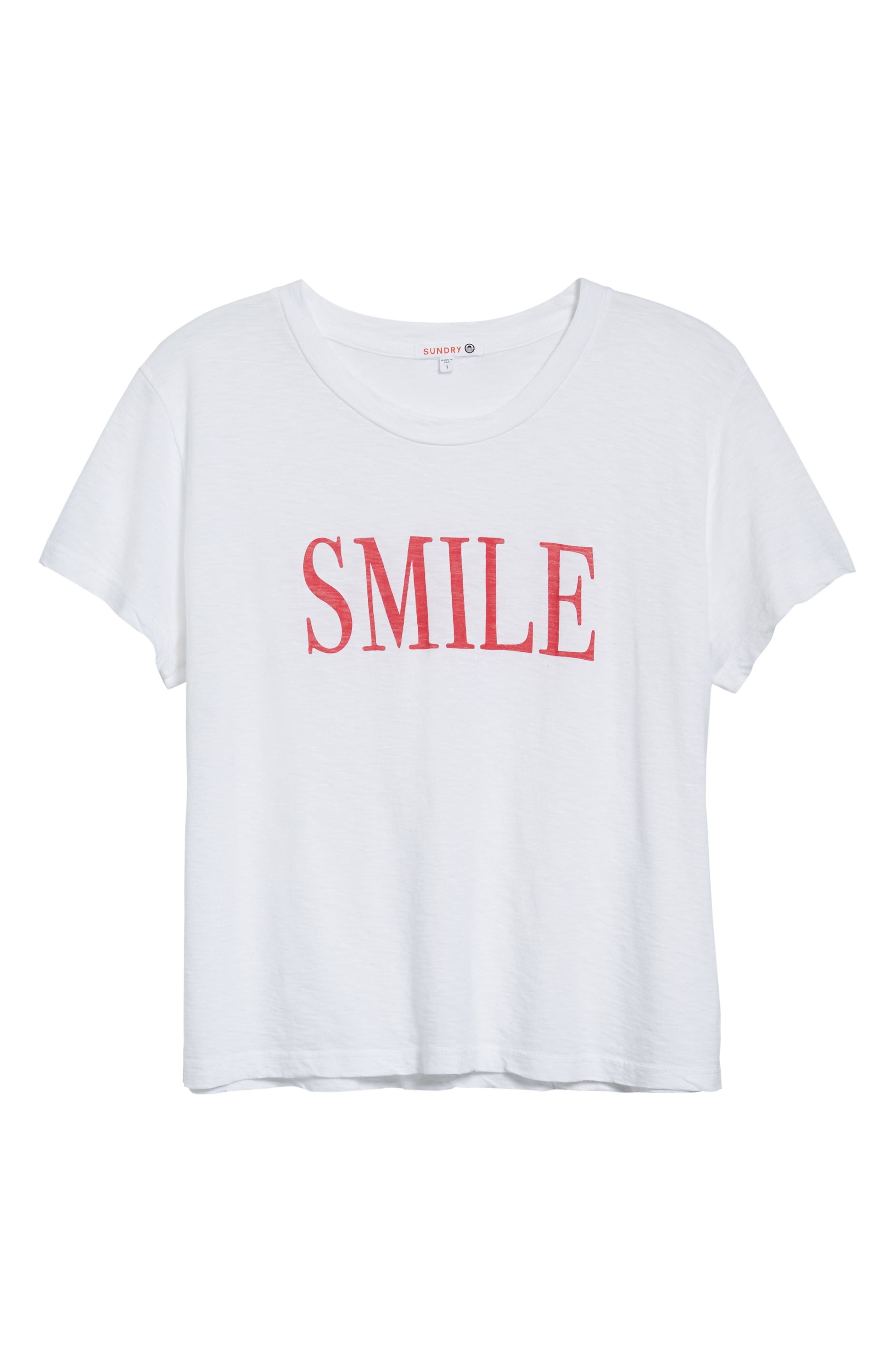 SUNDRY,                             Smile Boxy Cotton Tee,                             Alternate thumbnail 6, color,                             100