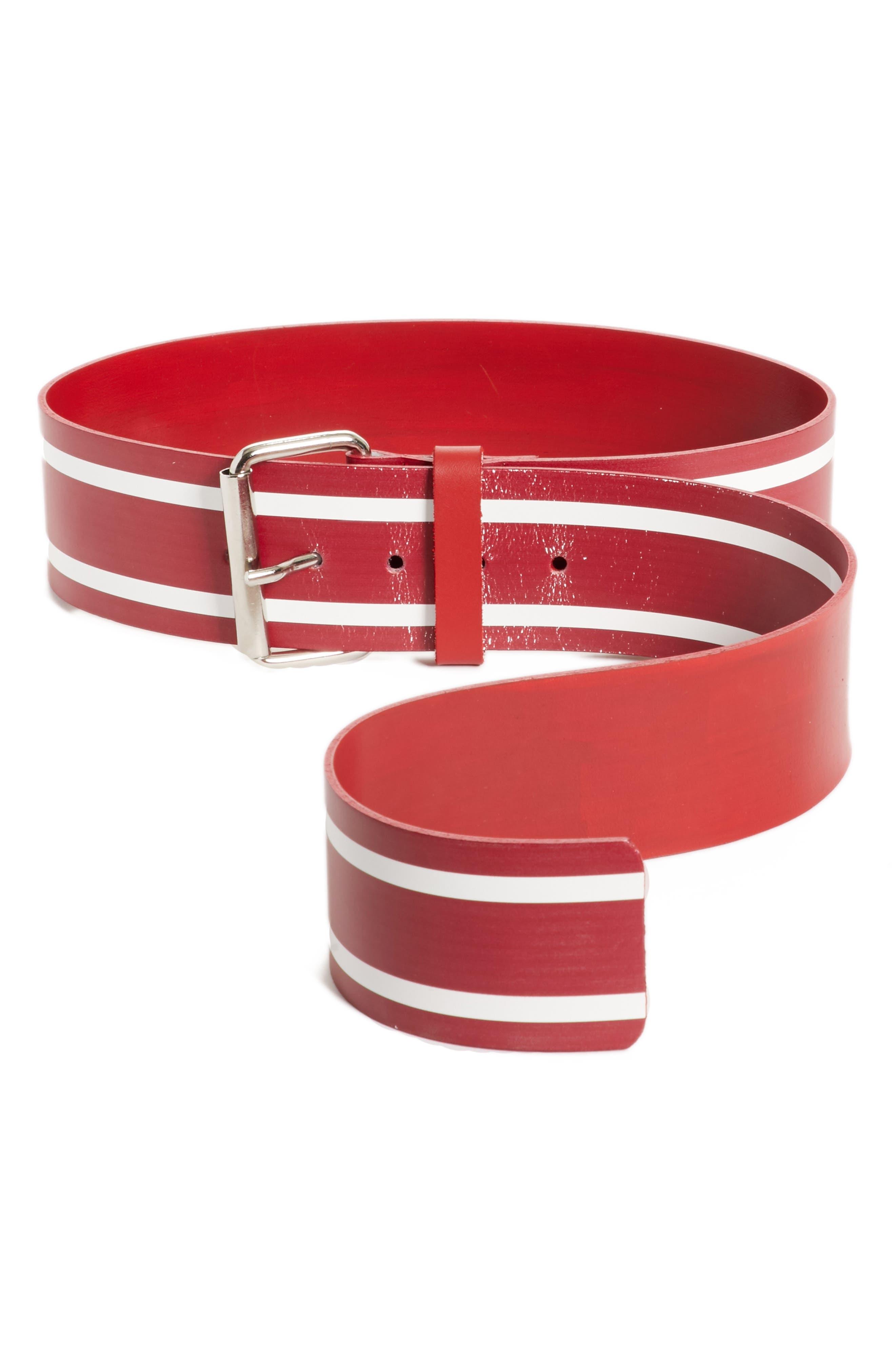 Racing Stripe Leather Belt,                             Main thumbnail 1, color,                             600