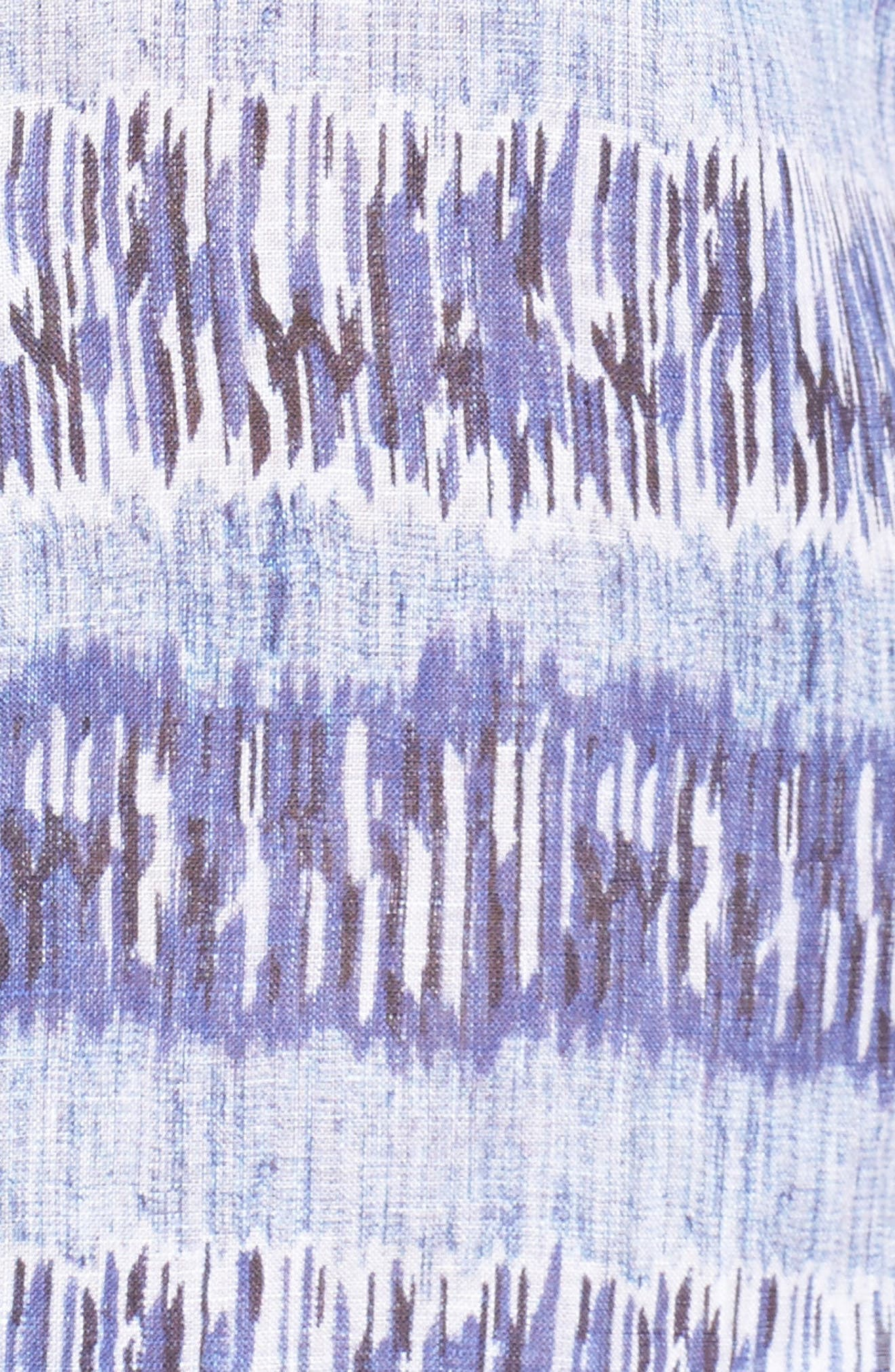 Shaped Fit Print Linen Sport Shirt,                             Alternate thumbnail 5, color,                             422