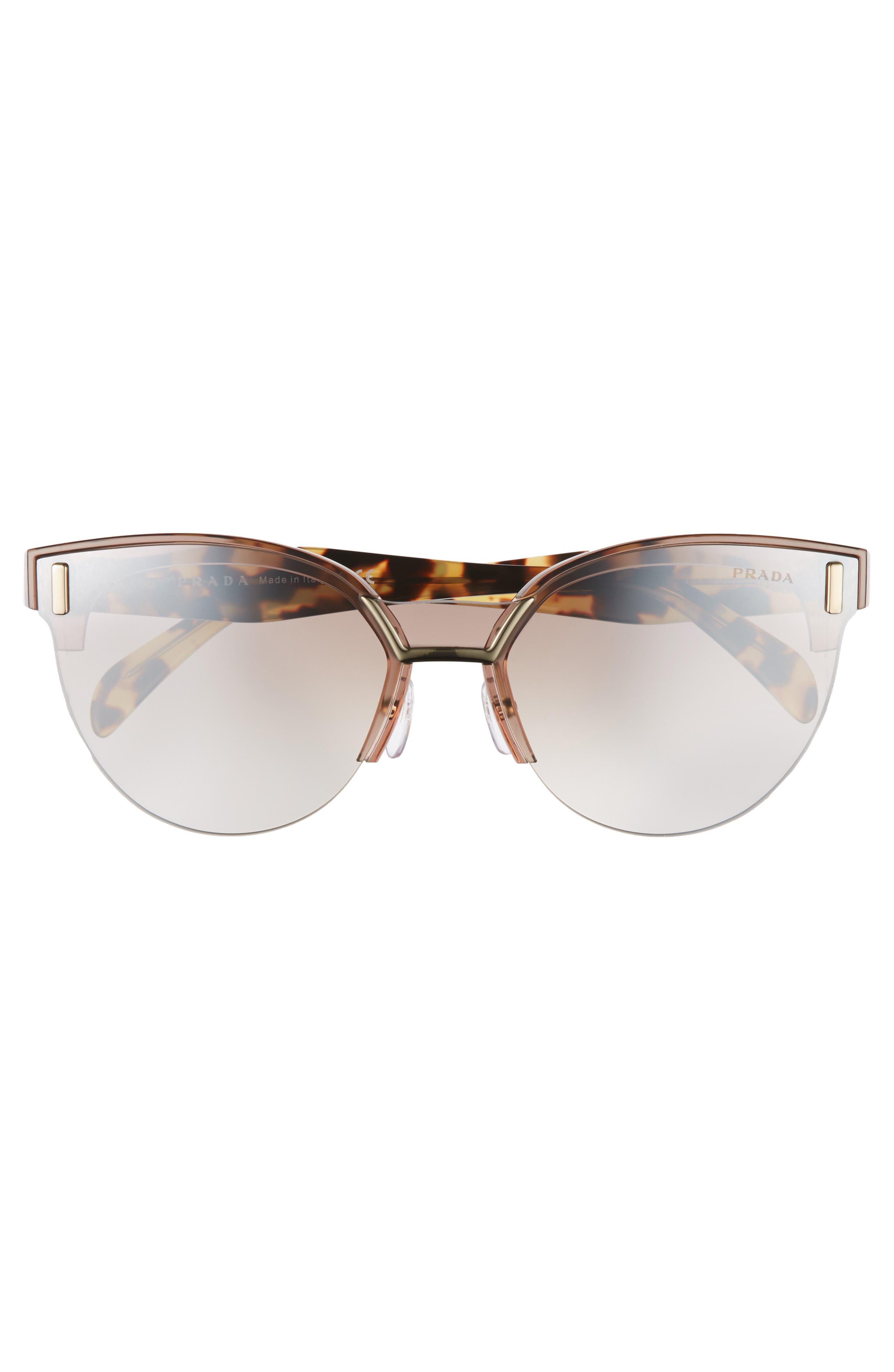 43mm Semi Rimless Sunglasses,                             Alternate thumbnail 4, color,                             TRANSPARENT BROWN