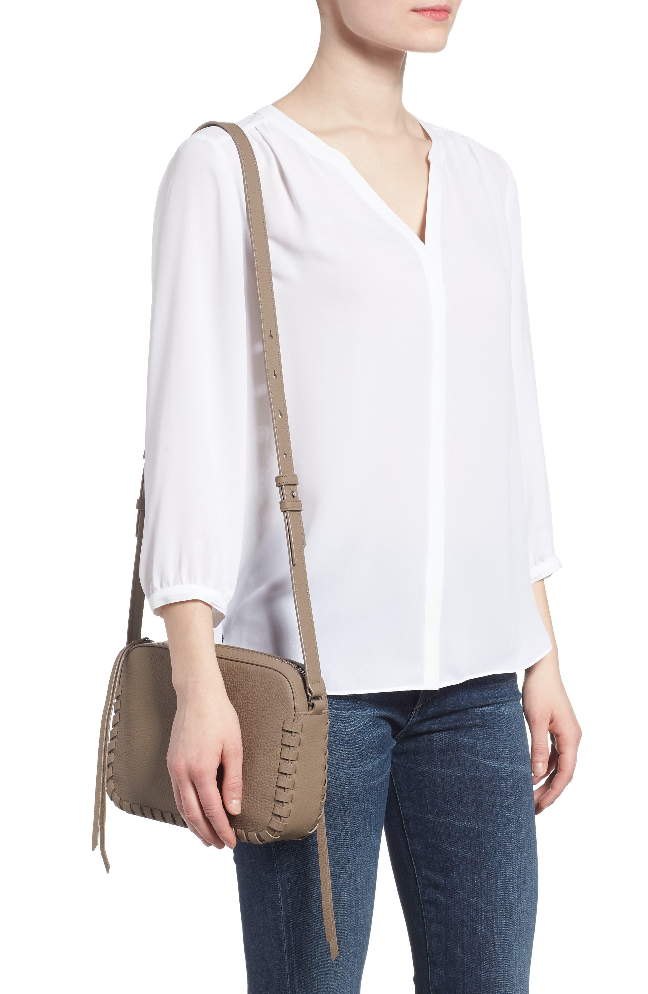 Kepi Mini Leather Crossbody Bag,                             Alternate thumbnail 2, color,                             ALMOND BROWN