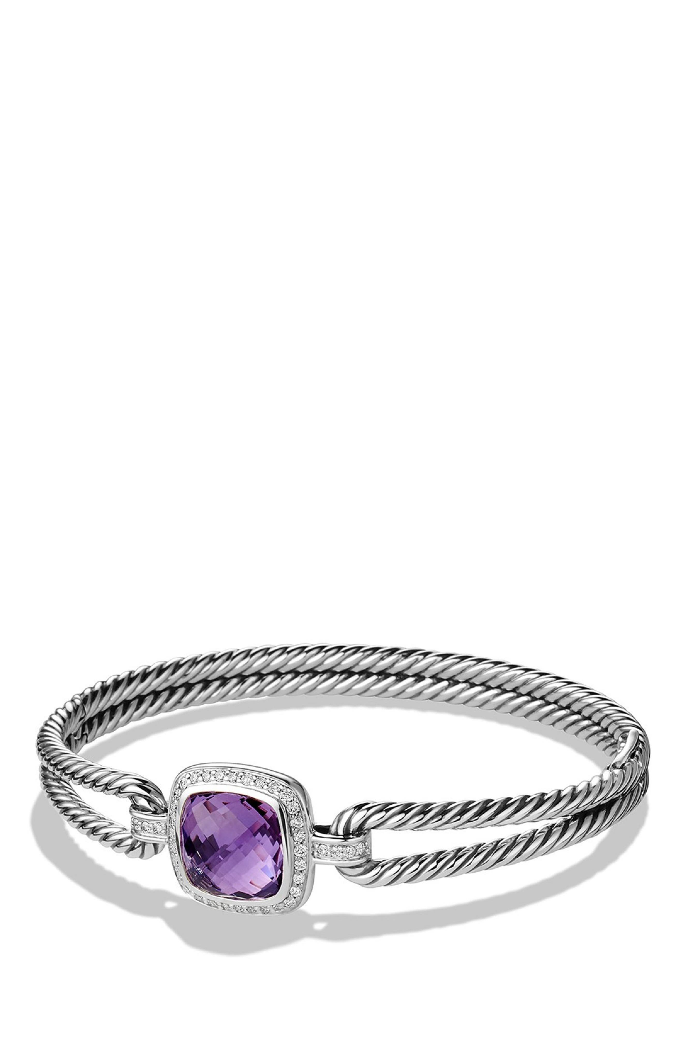 'Albion' Bracelet with Semiprecious Stone and Diamonds,                             Main thumbnail 1, color,                             AMETHYST
