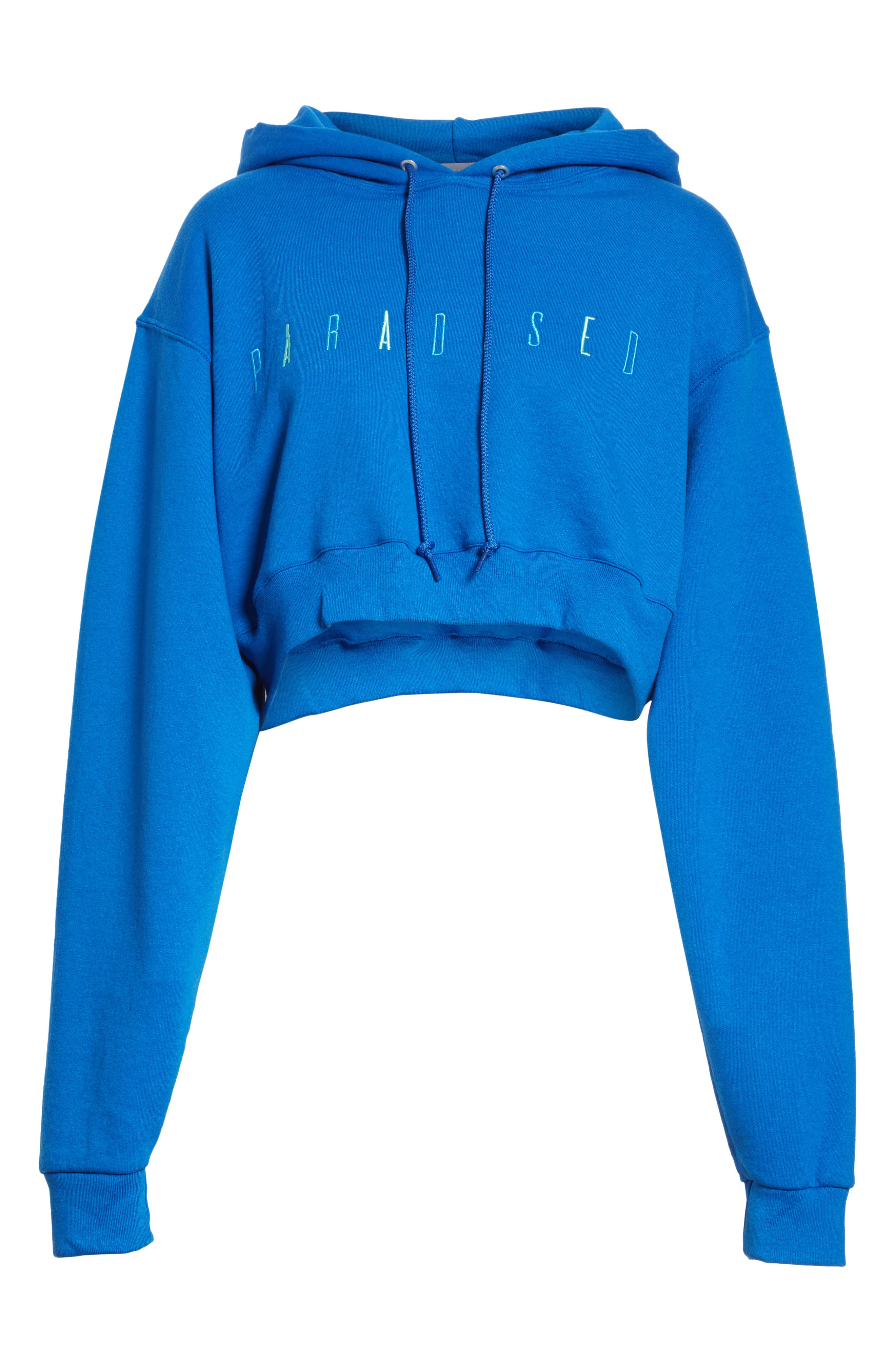 Logo Embroidered Crop Hoodie,                             Alternate thumbnail 6, color,                             ROYAL