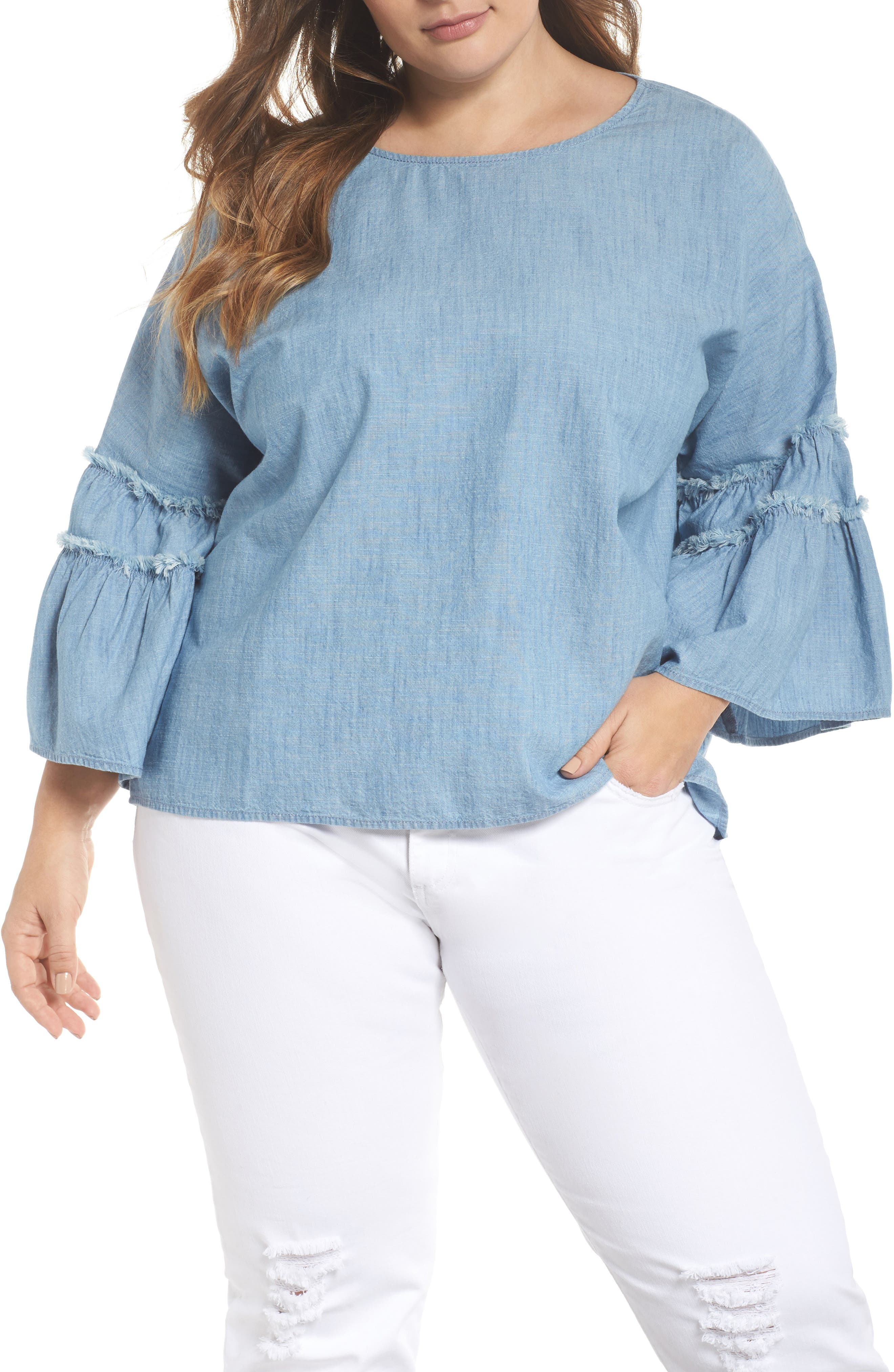 Ruffle Sleeve Chambray Blouse,                             Main thumbnail 1, color,                             ICE LAGOON