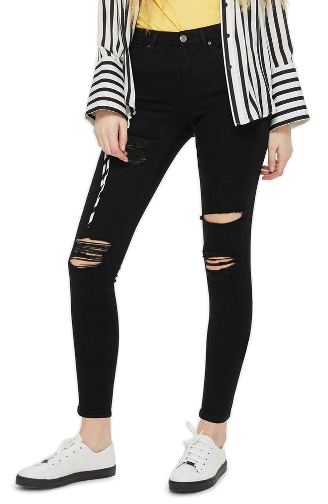 MOTO Leigh Super Rip Jeans,                         Main,                         color, BLACK
