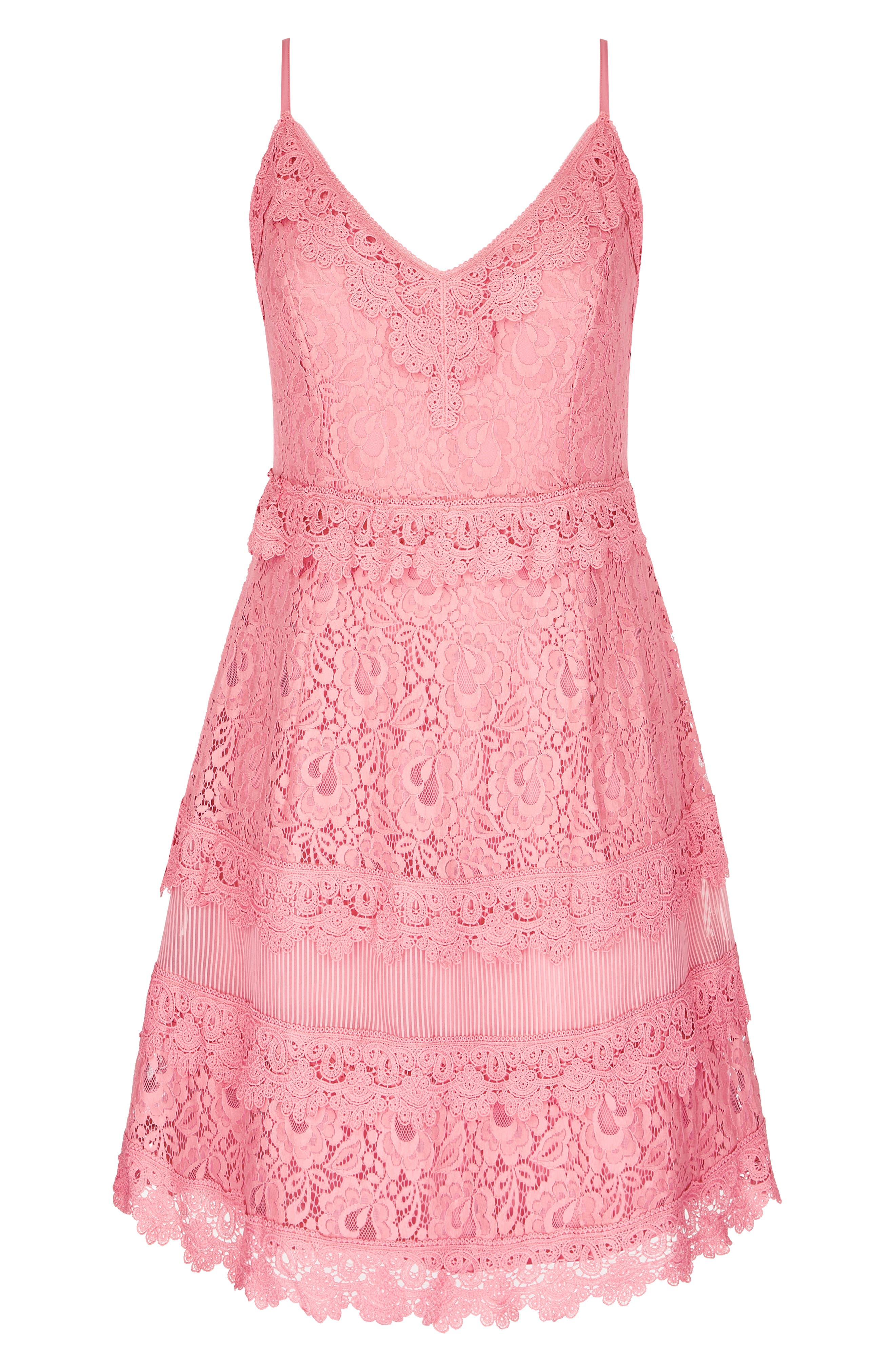 Nouveau Cotton Blend Lace Fit & Flare Dress,                             Alternate thumbnail 3, color,                             POUT