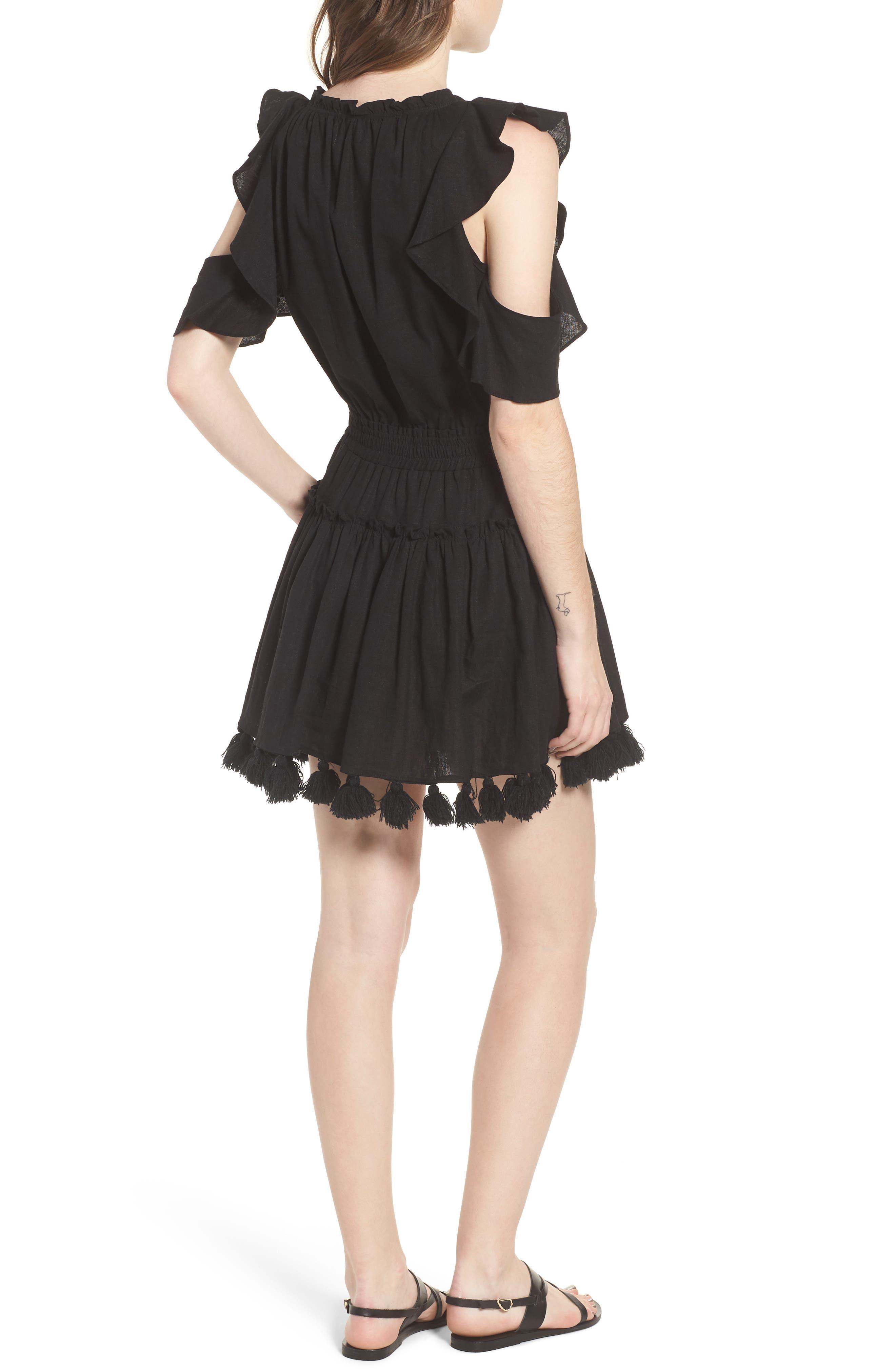 Selma Cold Shoulder Linen Blend Dress,                             Alternate thumbnail 2, color,                             001
