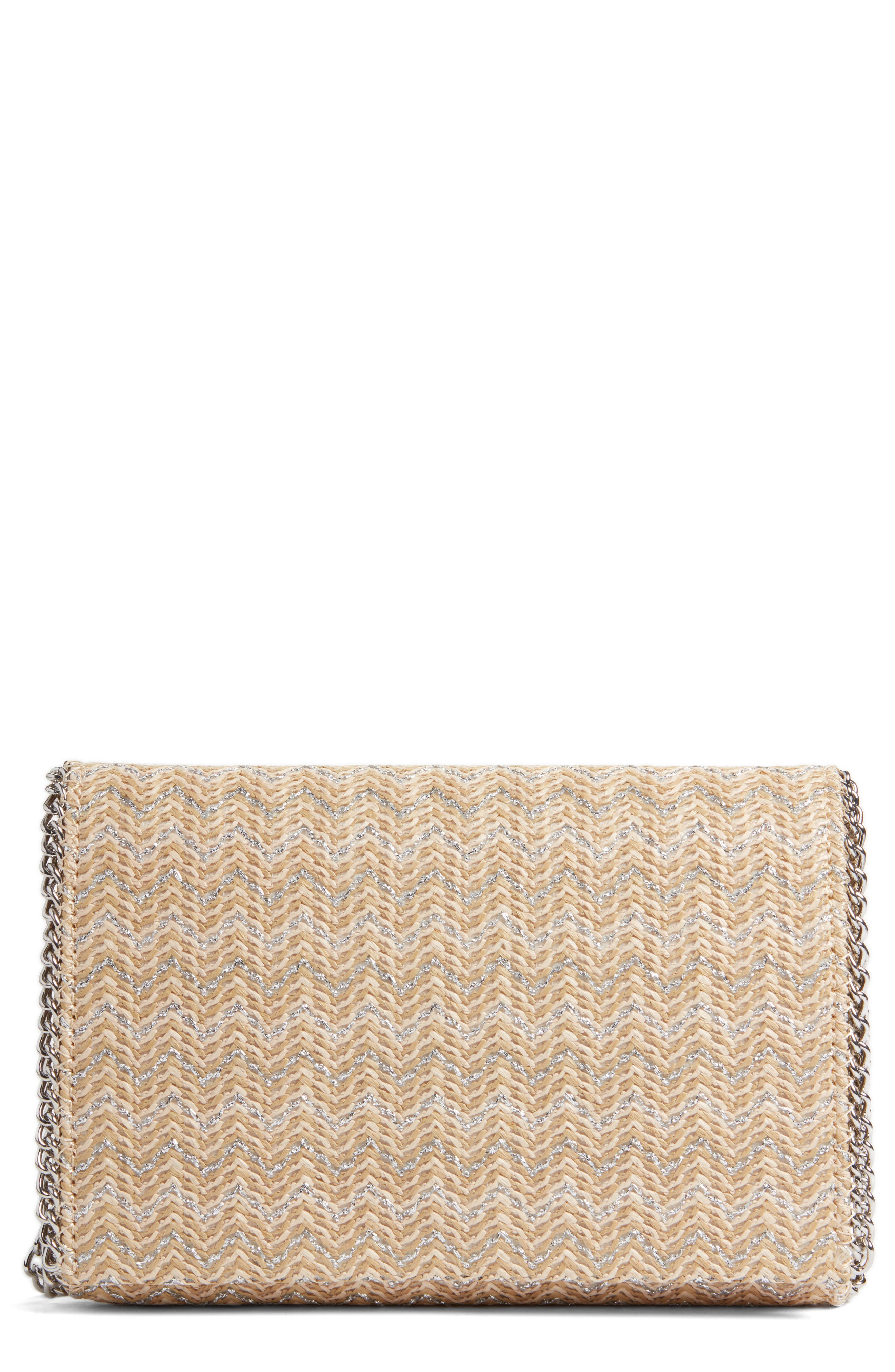 Stripe Straw Convertible Clutch,                             Main thumbnail 1, color,                             040