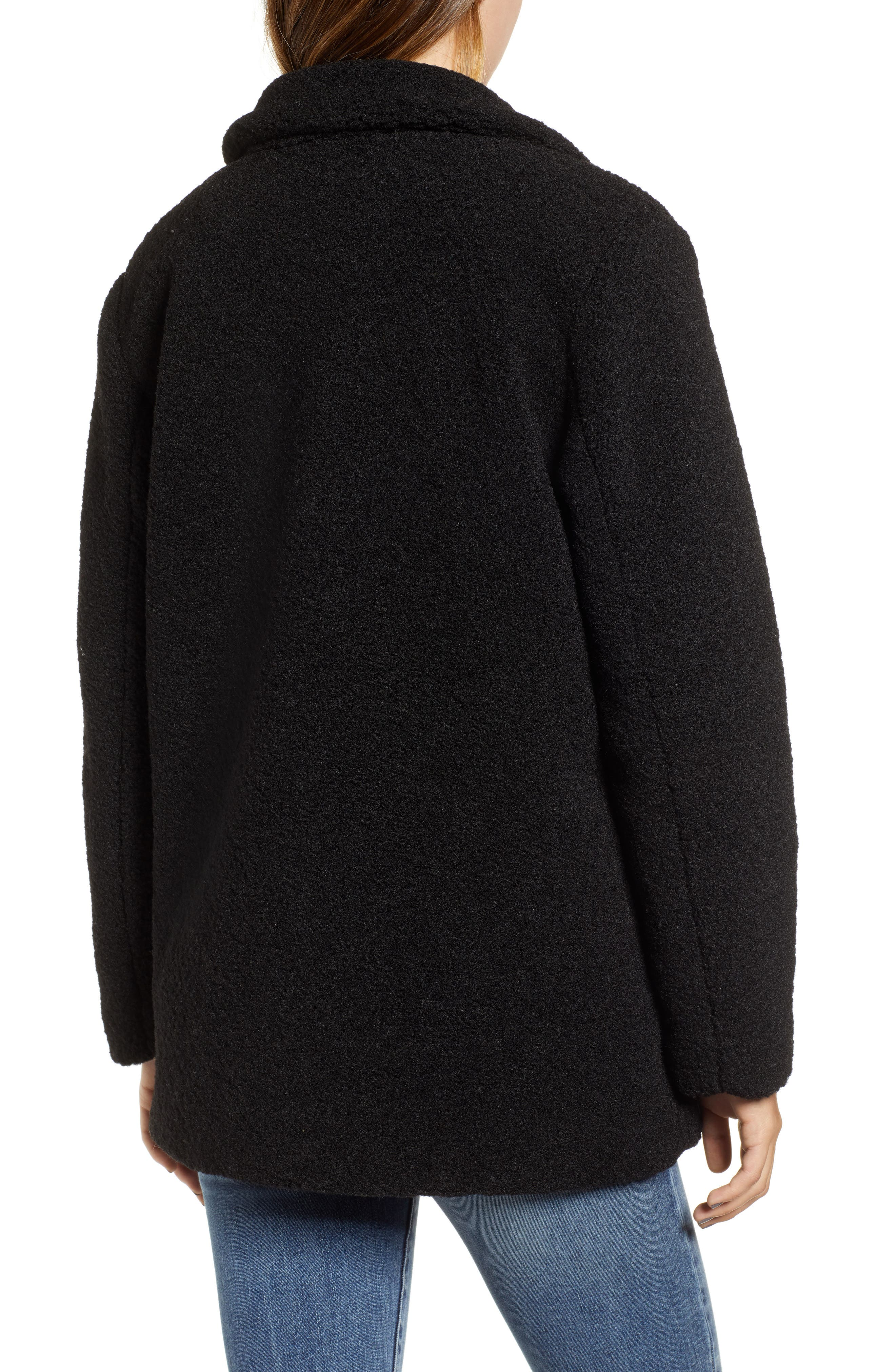 Textured Double Breasted Coat,                             Alternate thumbnail 2, color,                             BLACK