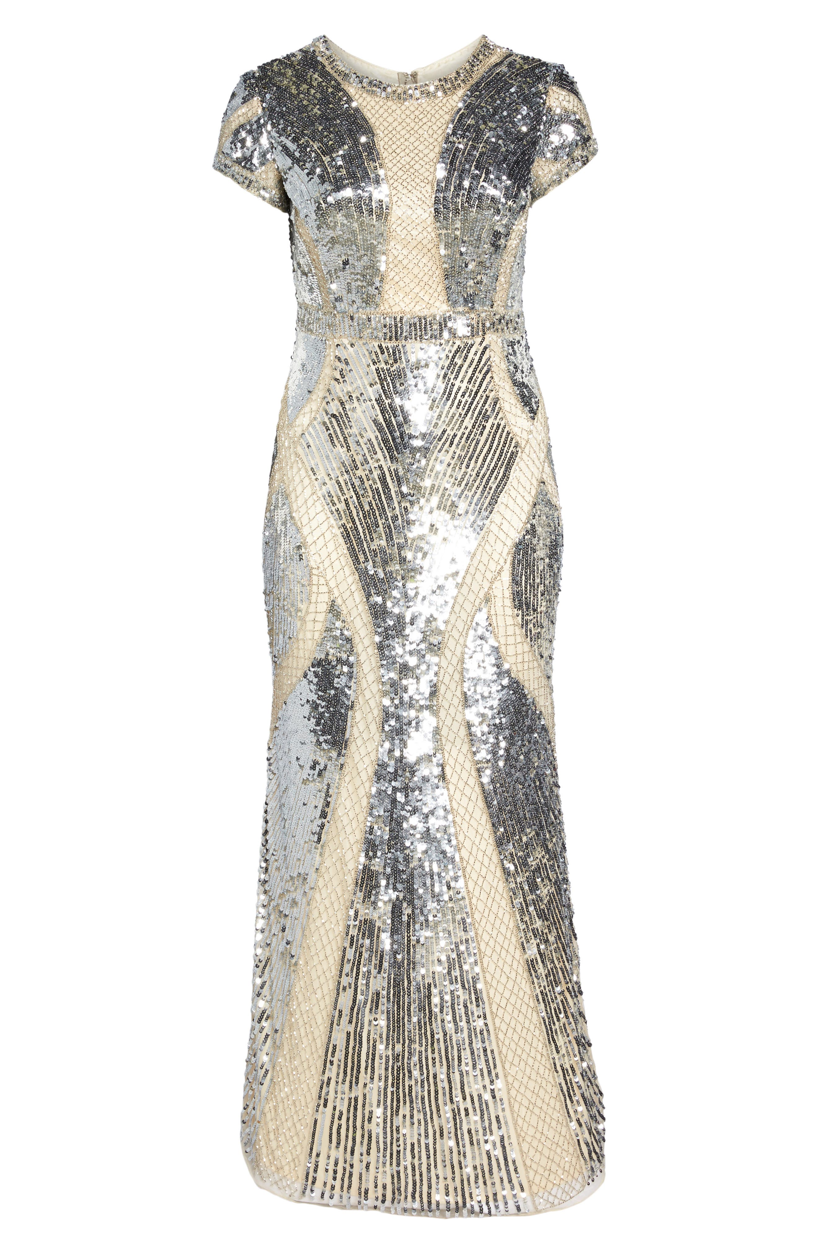 Jewel Neck Sequin Gown,                             Alternate thumbnail 6, color,                             SILVER/ NUDE