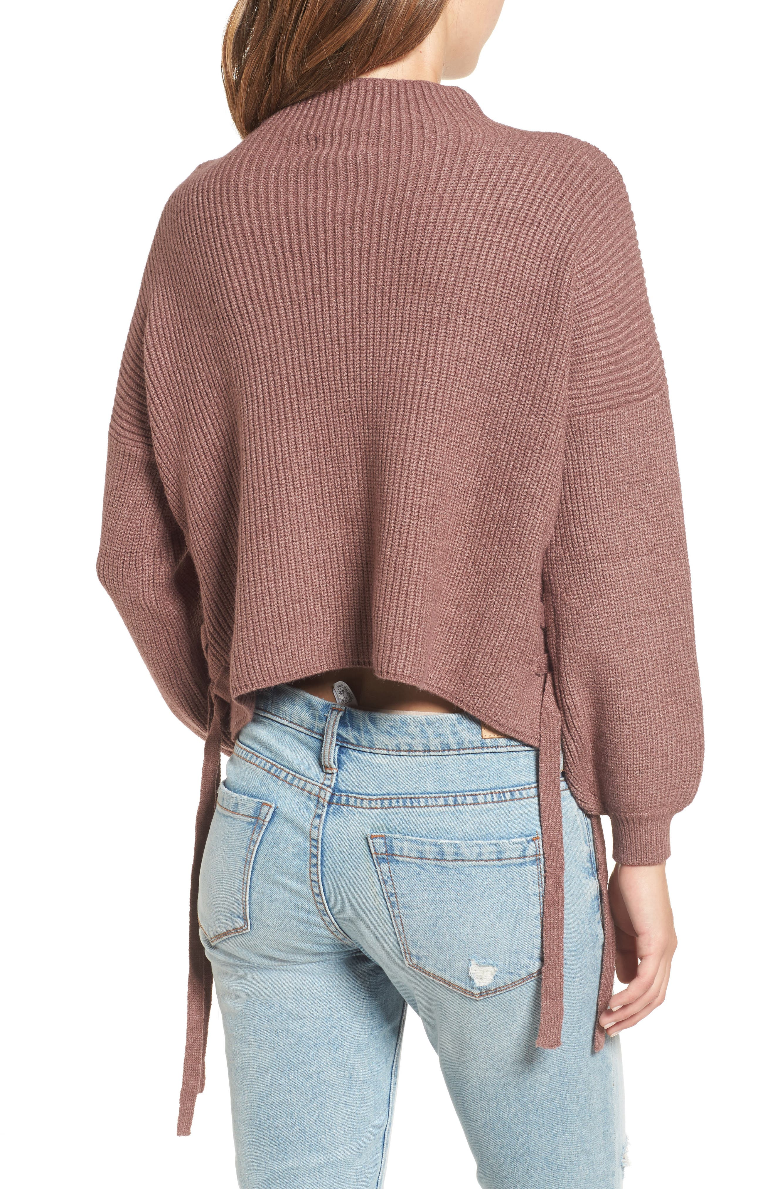 Lace-Up Sweater,                             Alternate thumbnail 2, color,                             530