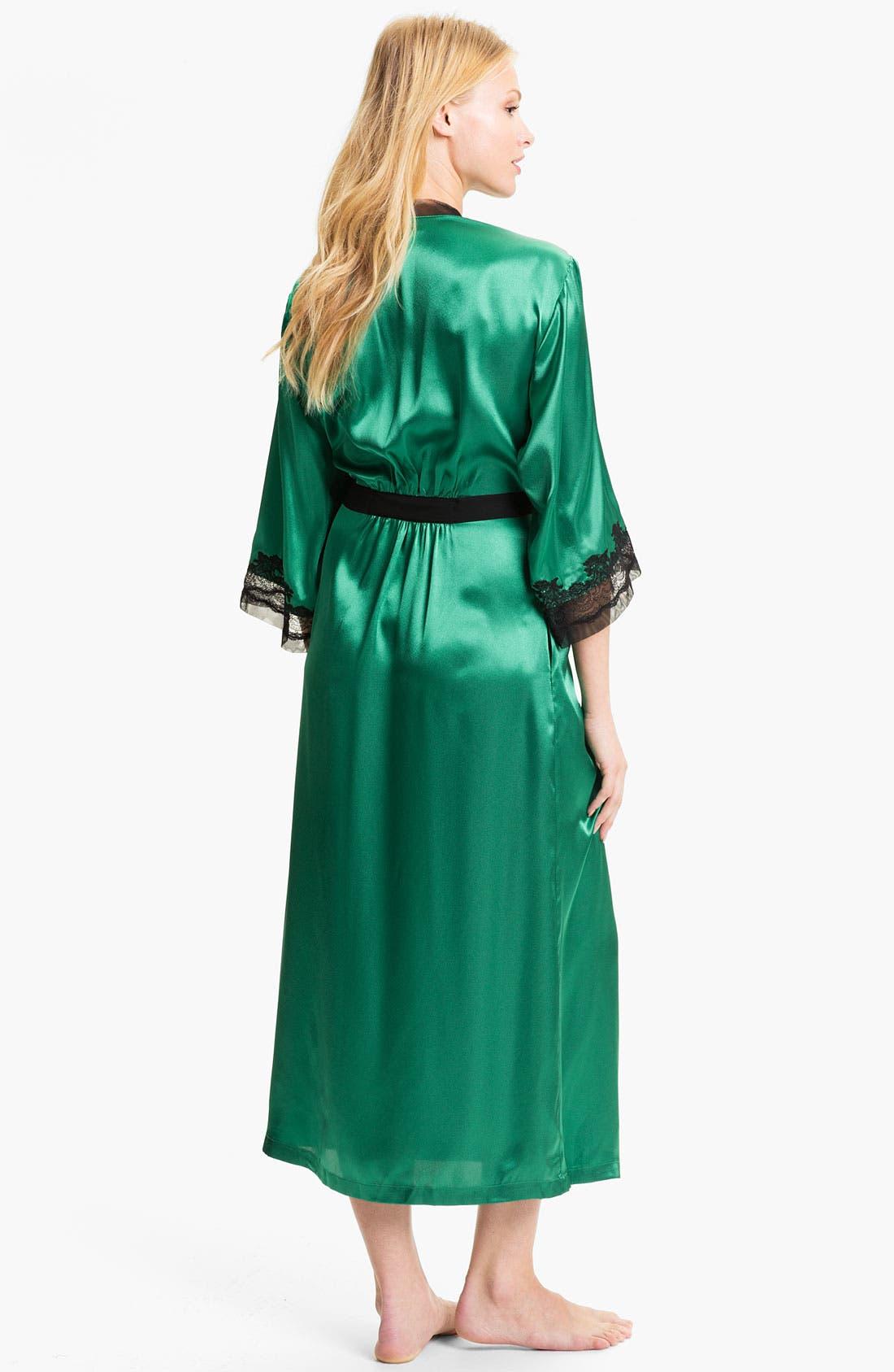 Sleepwear Lace Trim Charmeuse Robe,                             Alternate thumbnail 5, color,