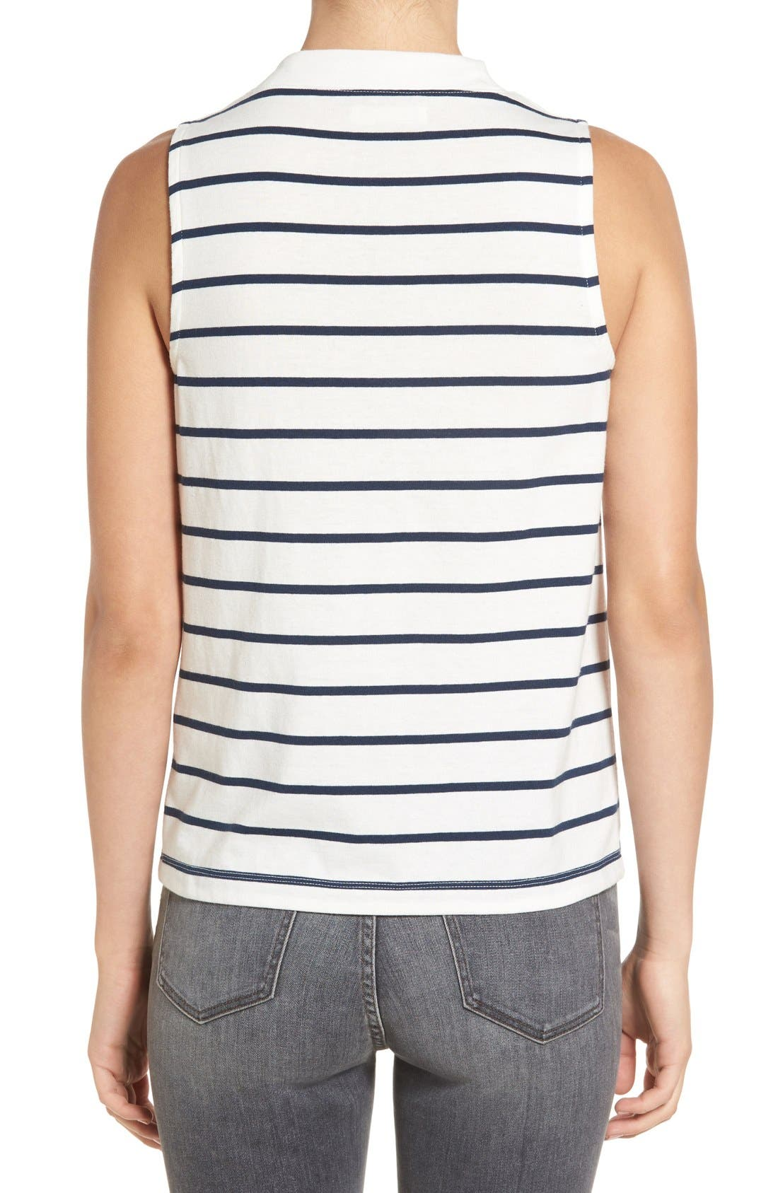'Ardelle' Stripe Mock Neck Tank,                             Alternate thumbnail 5, color,                             907