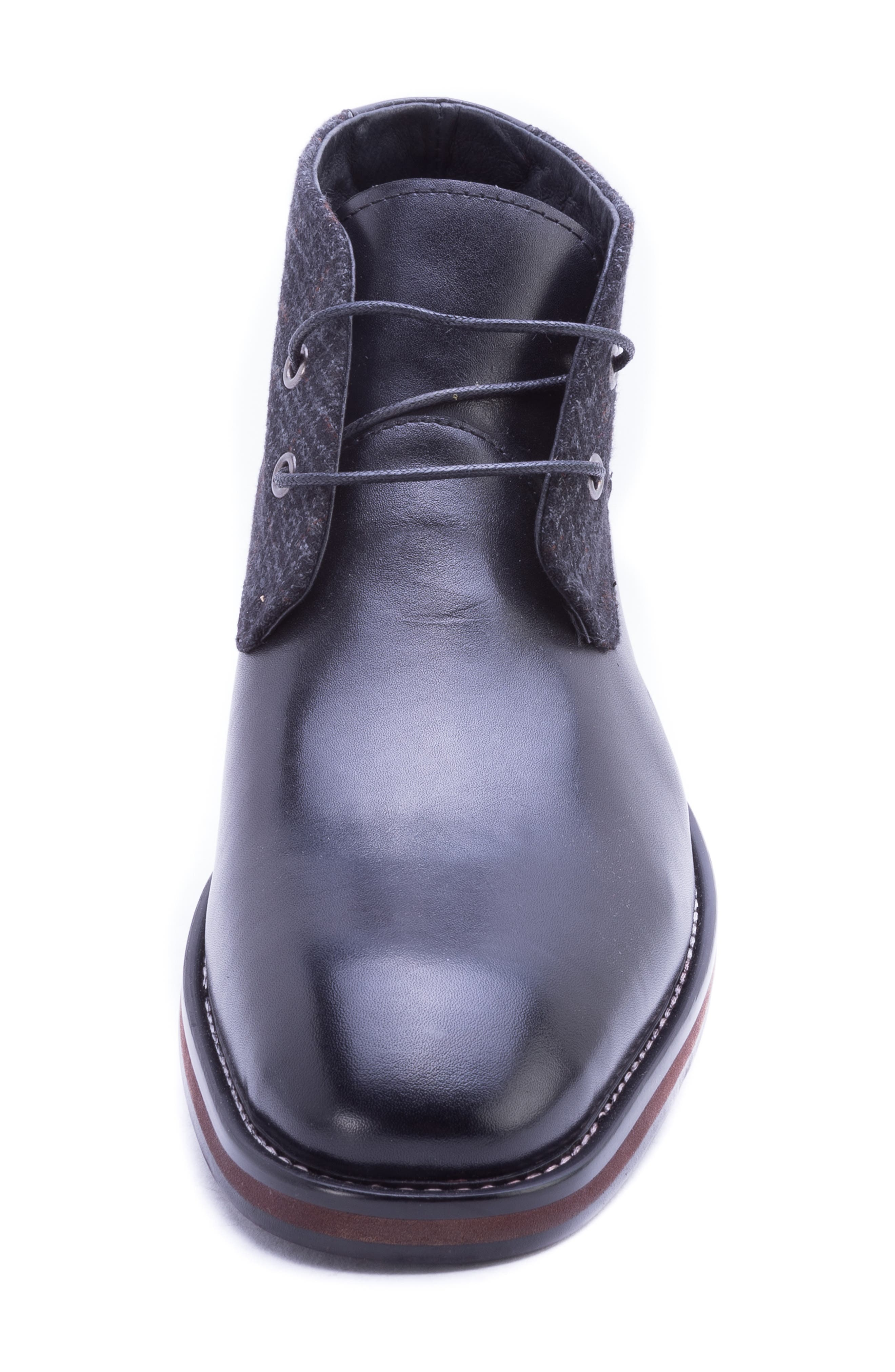 Nebot Chukka Boot,                             Alternate thumbnail 4, color,                             BLACK LEATHER/ FABRIC