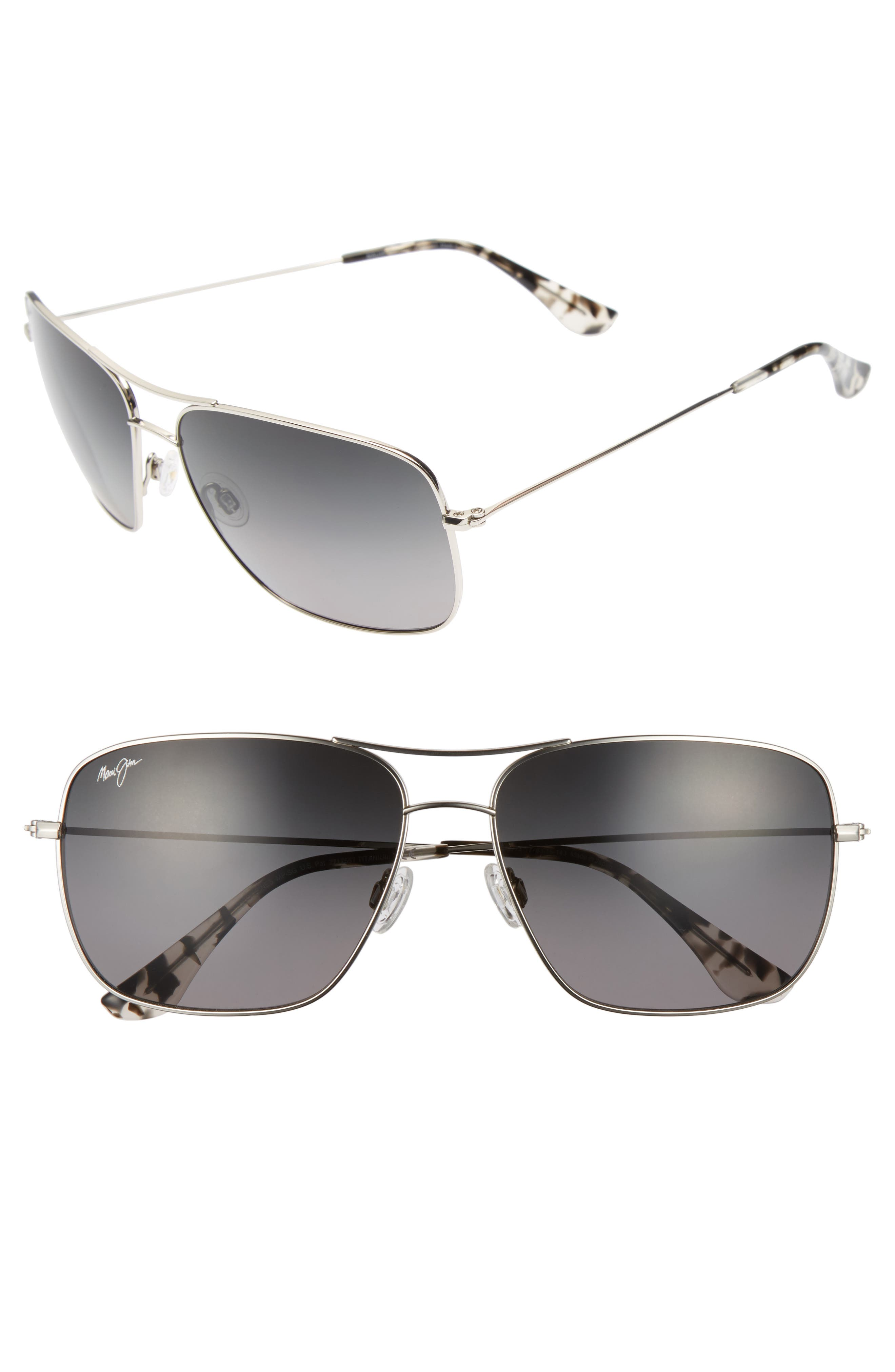 Cook Pines 63mm Polarized Titanium Aviator Sunglasses,                             Main thumbnail 2, color,