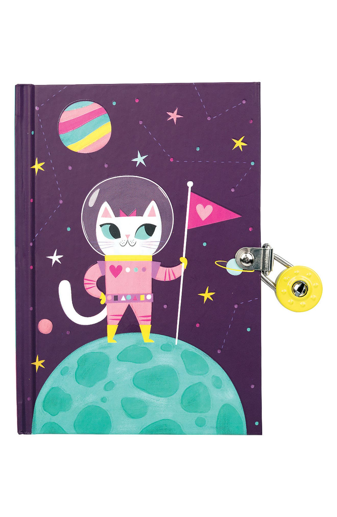 Space Cat Glow-in-the-Dark Locked Diary,                         Main,                         color, 500