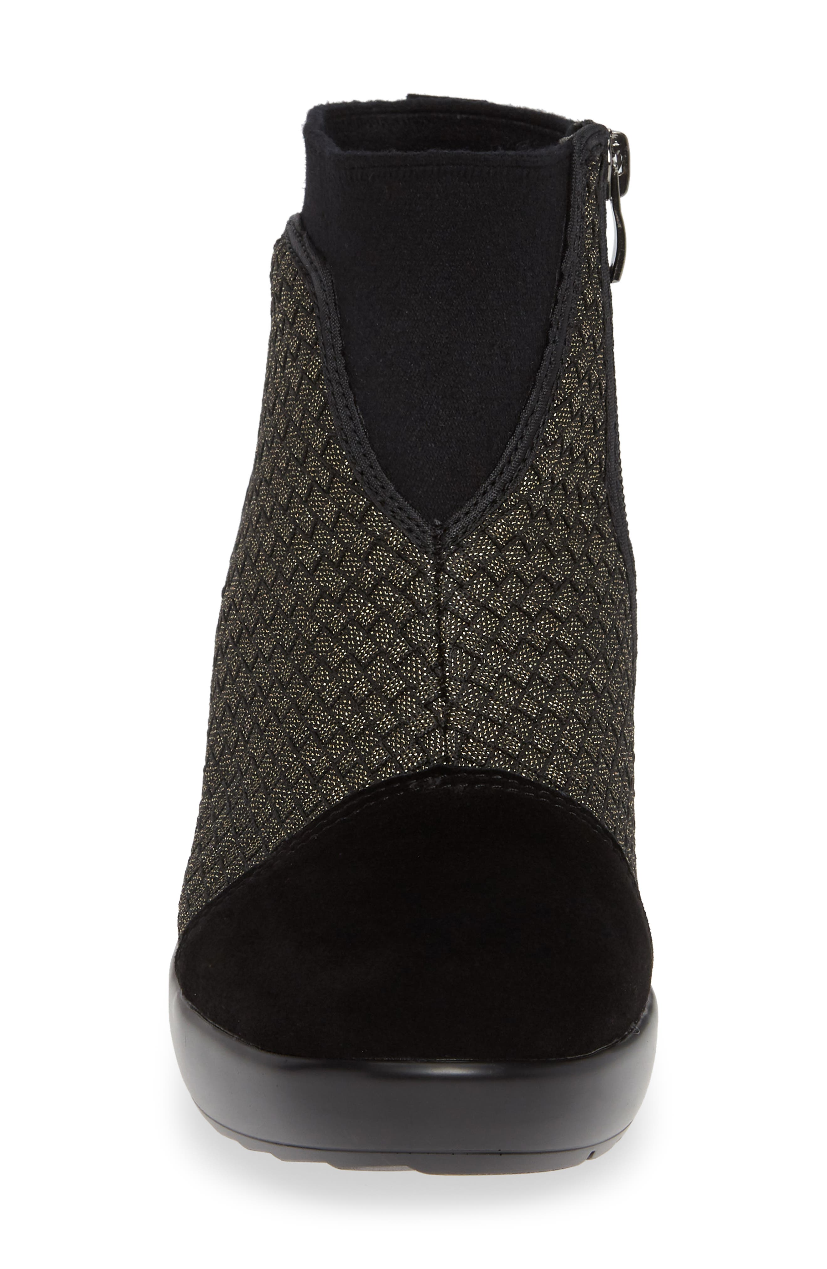 Zoe Wedge Bootie,                             Alternate thumbnail 4, color,                             GOLD BLACK SHIMMER LEATHER