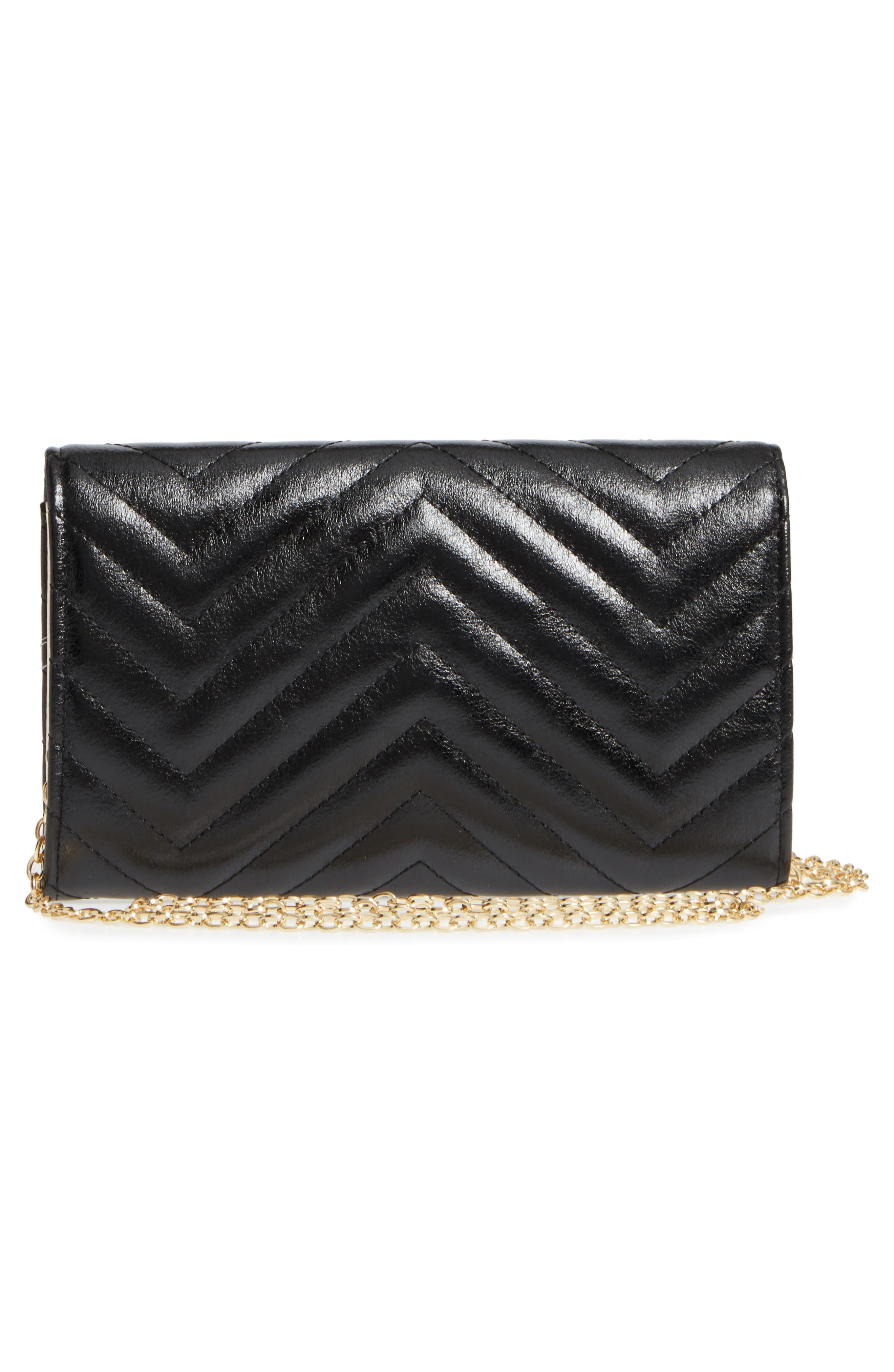 Quilted Faux Leather Wallet on a Chain,                             Alternate thumbnail 3, color,                             001