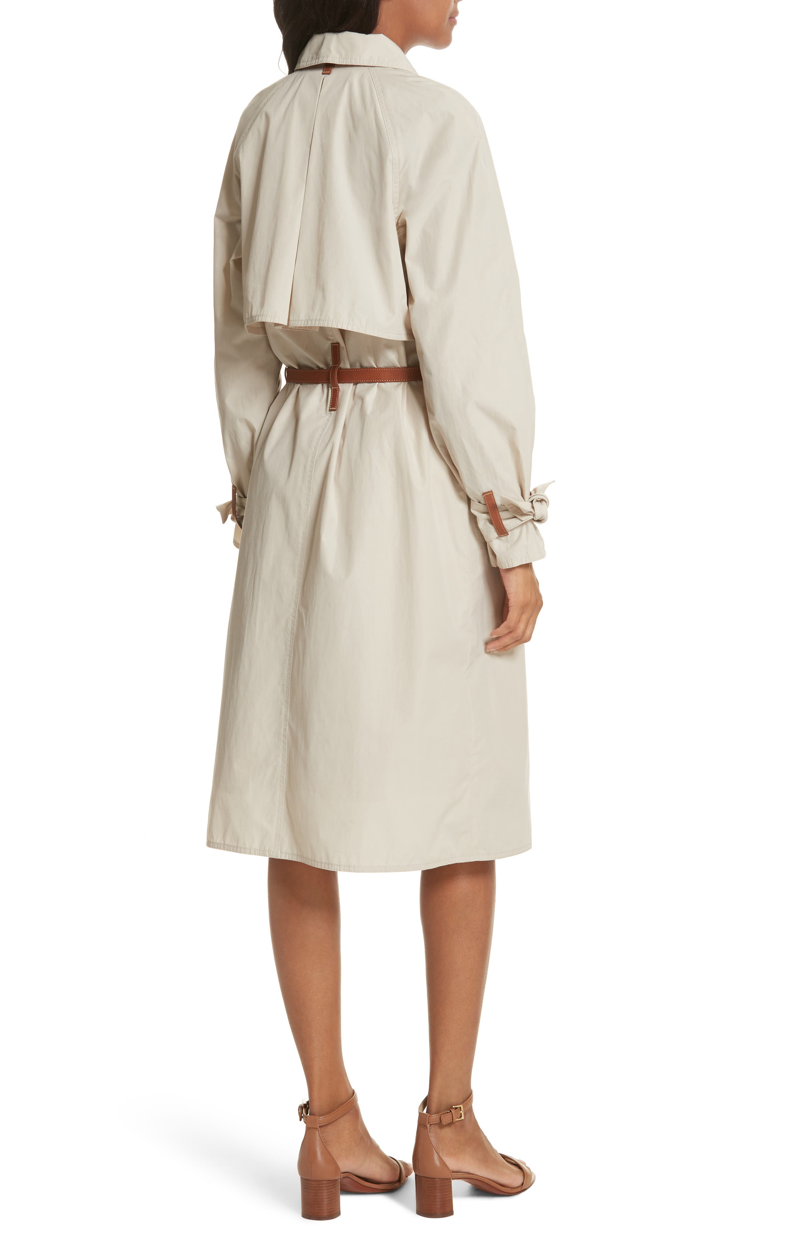 Marielle Leather Trim Trench Coat,                             Alternate thumbnail 2, color,                             053