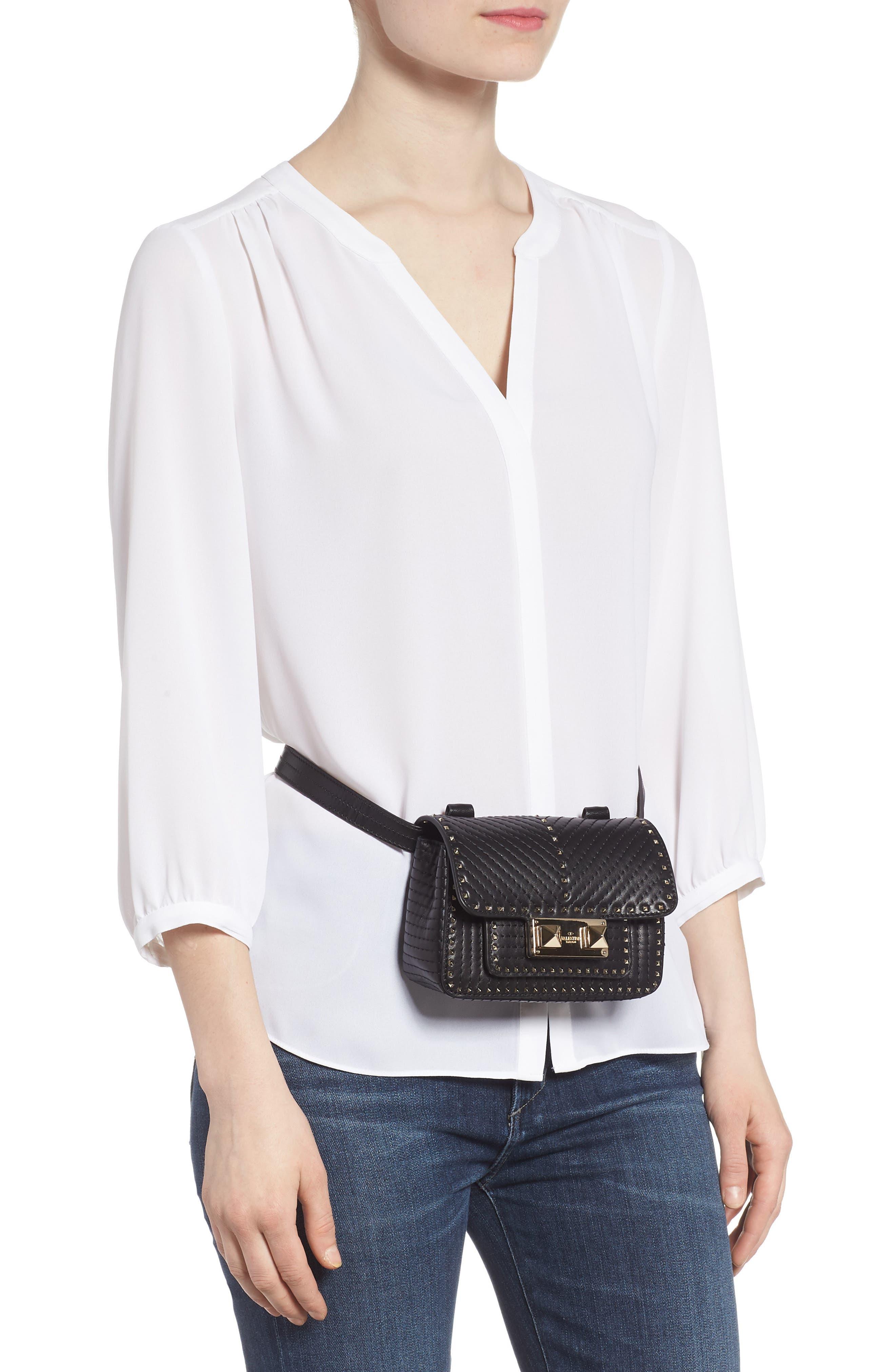 Mini Ziggystud Leather Convertible Crossbody/Belt Bag,                             Alternate thumbnail 2, color,                             001