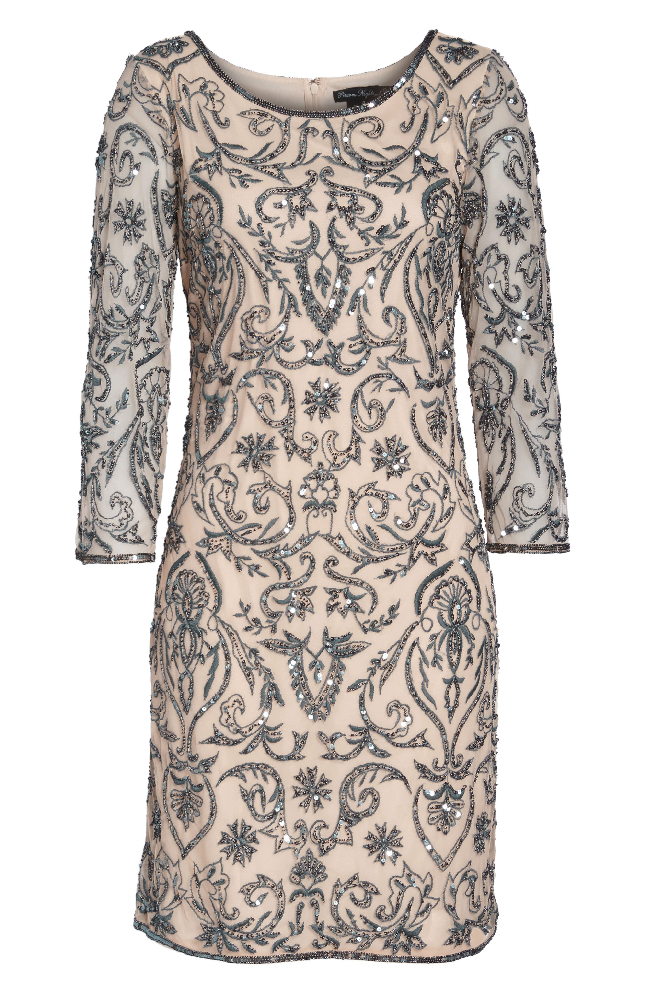 Sequin Embroidered Sheath Dress,                             Alternate thumbnail 7, color,                             650