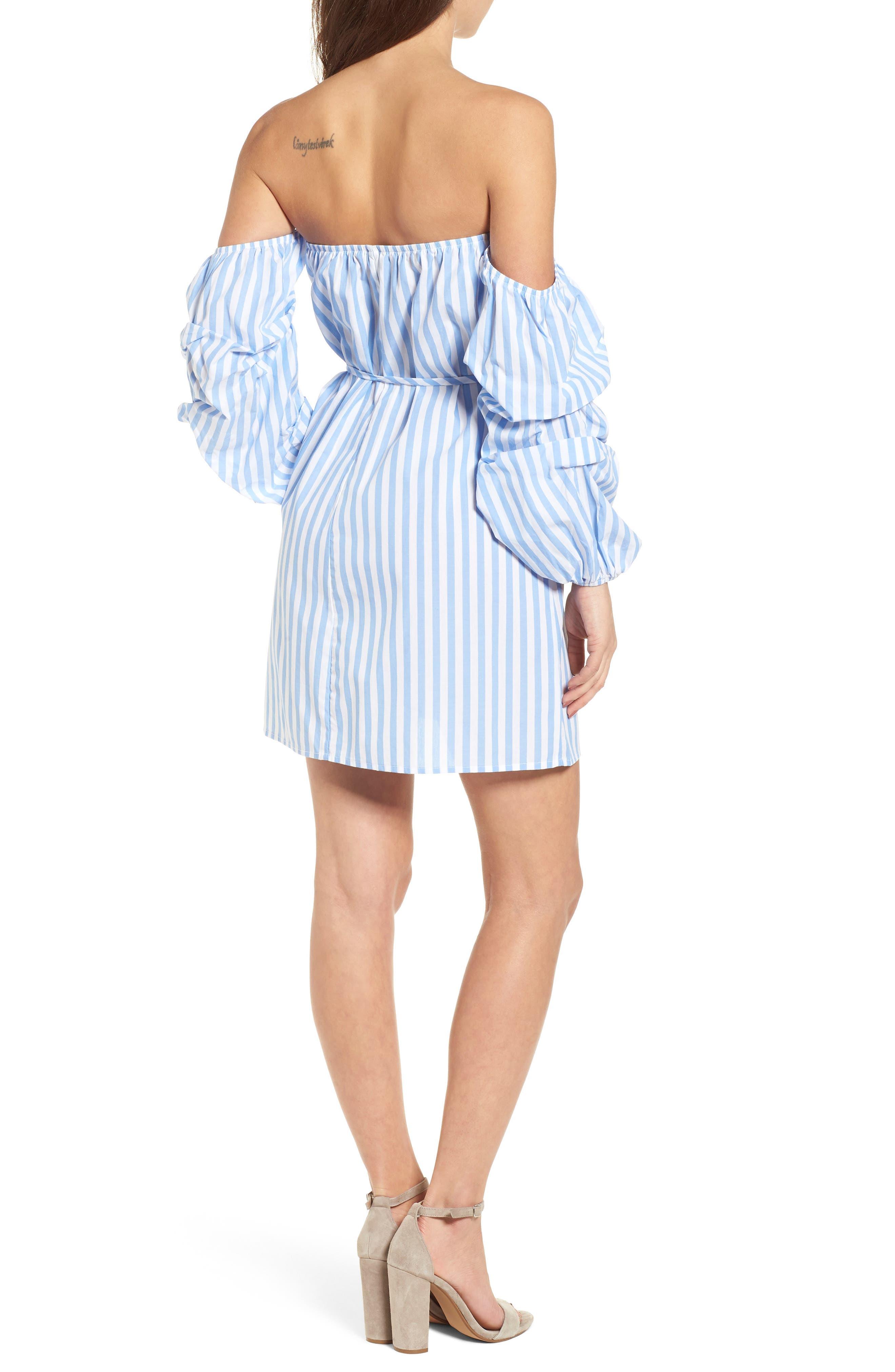 Off the Shoulder Stripe Minidress,                             Alternate thumbnail 2, color,                             100