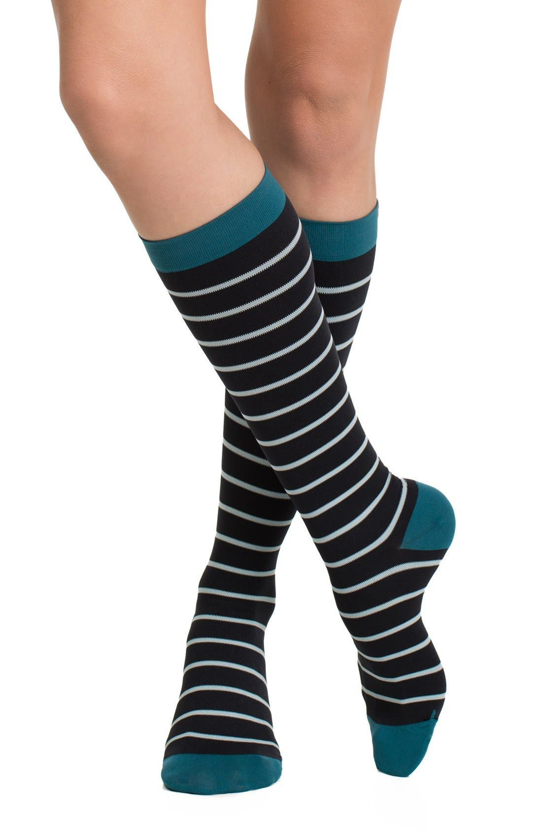 Nautical Stripe Graduated Compression Trouser Socks,                             Alternate thumbnail 5, color,                             001