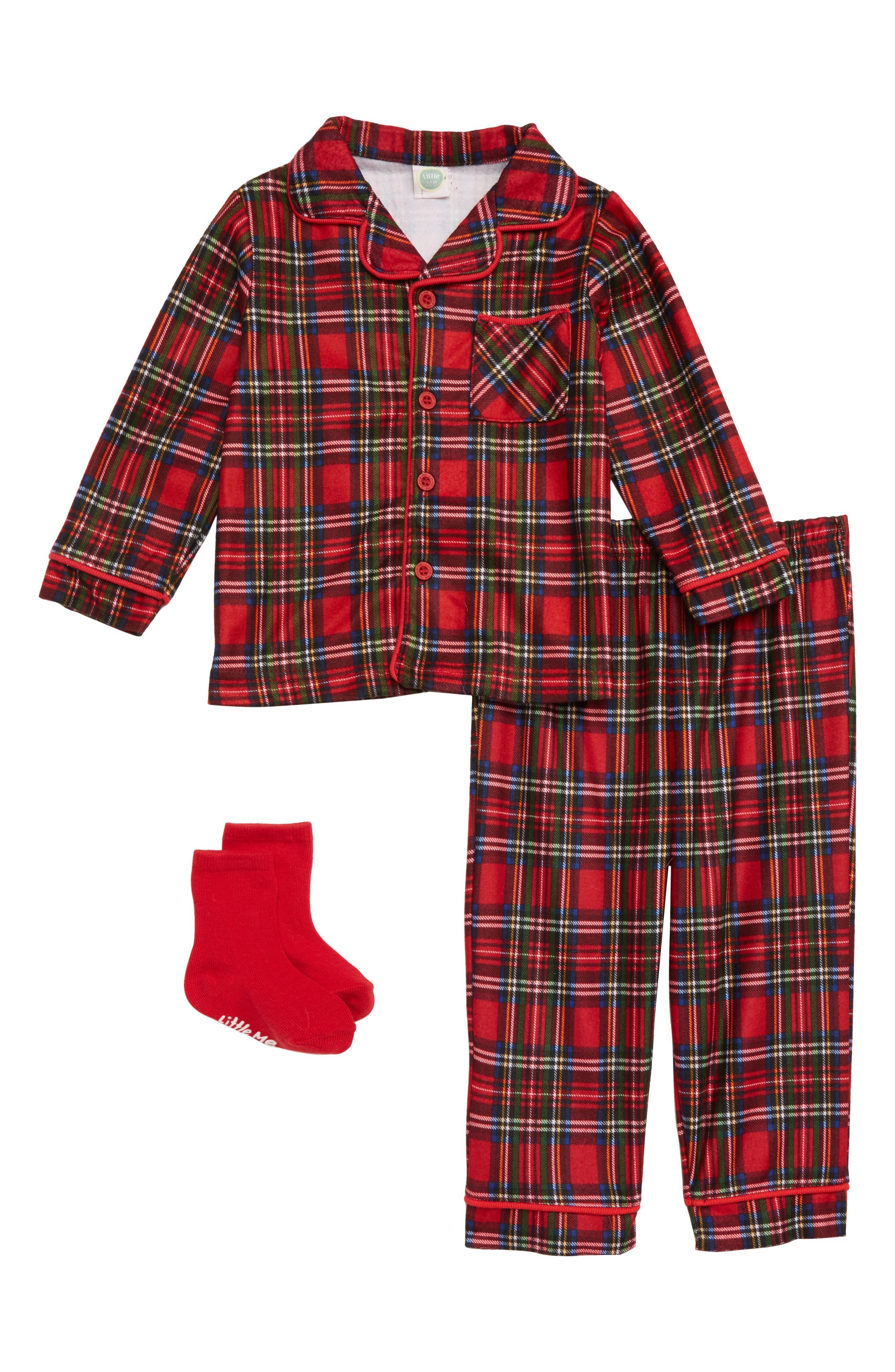 Christmas Plaid Two-Piece Pajamas & Socks Set,                             Main thumbnail 1, color,                             RED PLAID