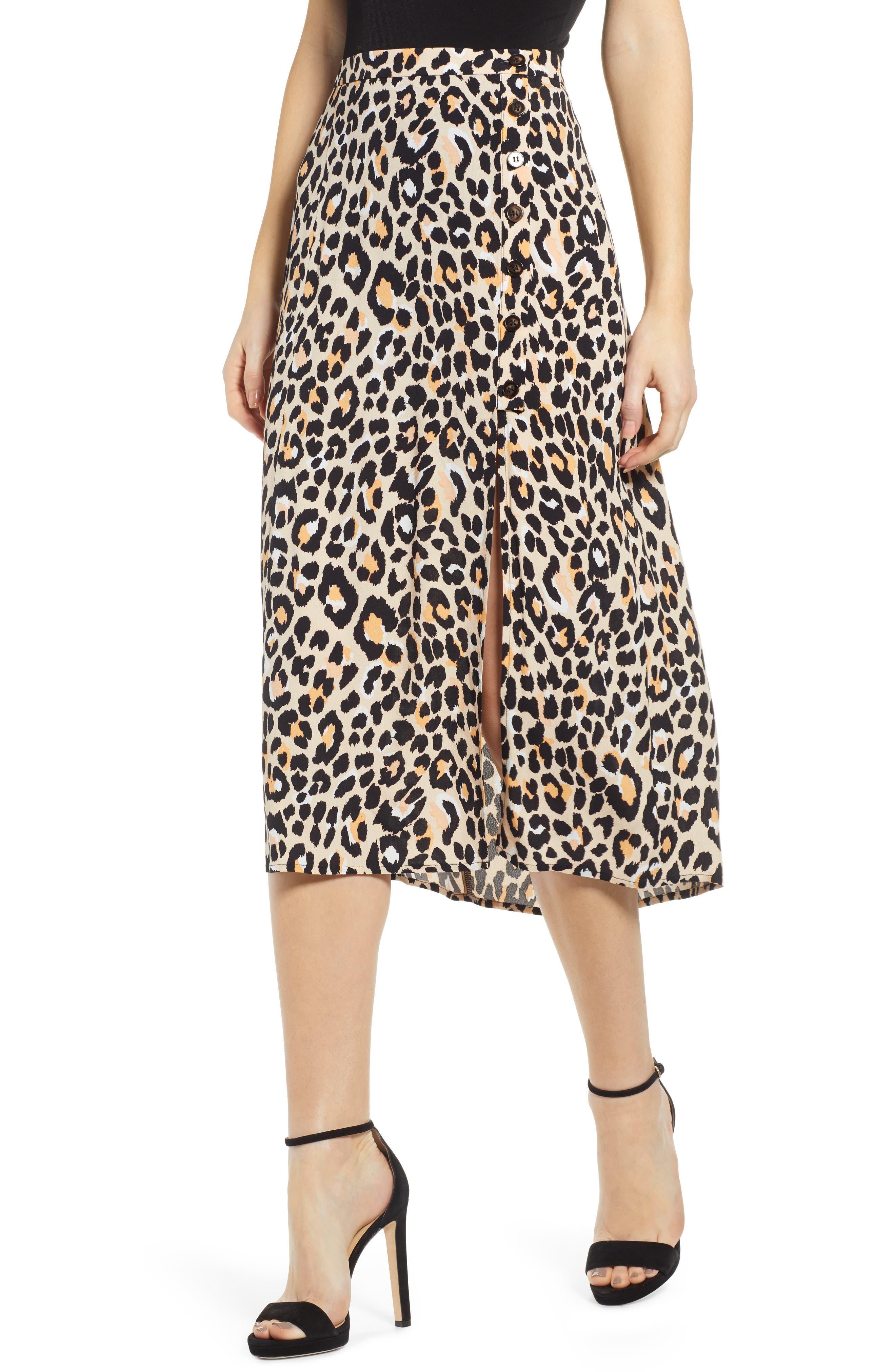 Astr The Label Leopard Print Button Front Midi Cotton Blend Skirt, Black