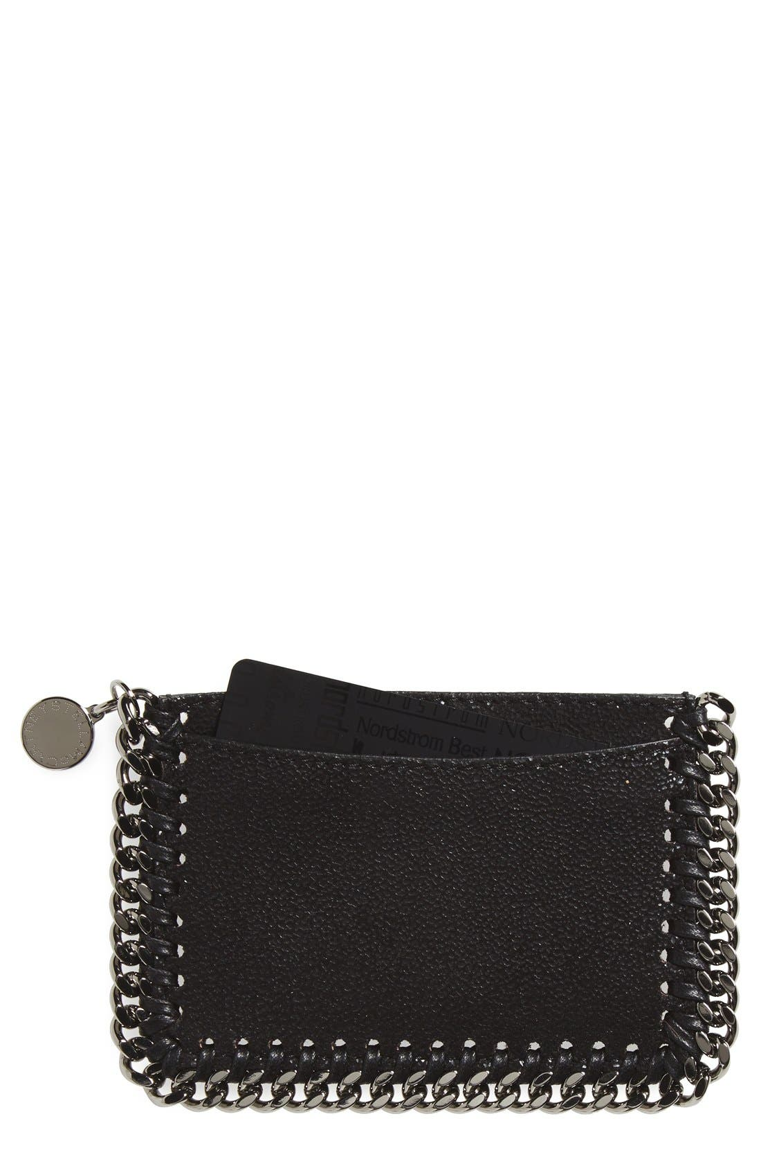 'Falabella - Shaggy Deer' Card Case,                             Main thumbnail 1, color,                             BLACK