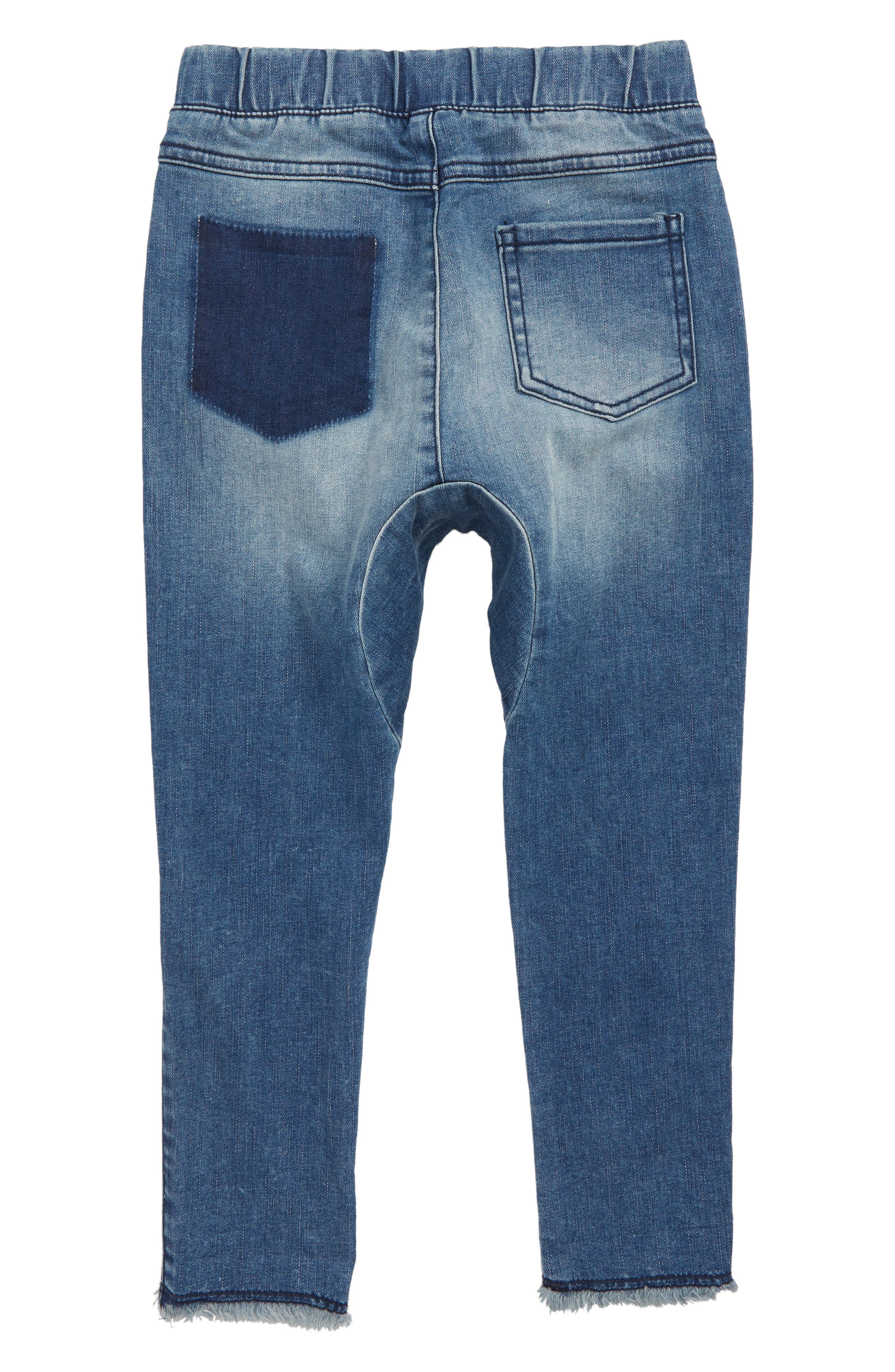 Shadow Patch Jeans,                             Alternate thumbnail 2, color,                             BLUE SHINE WASH