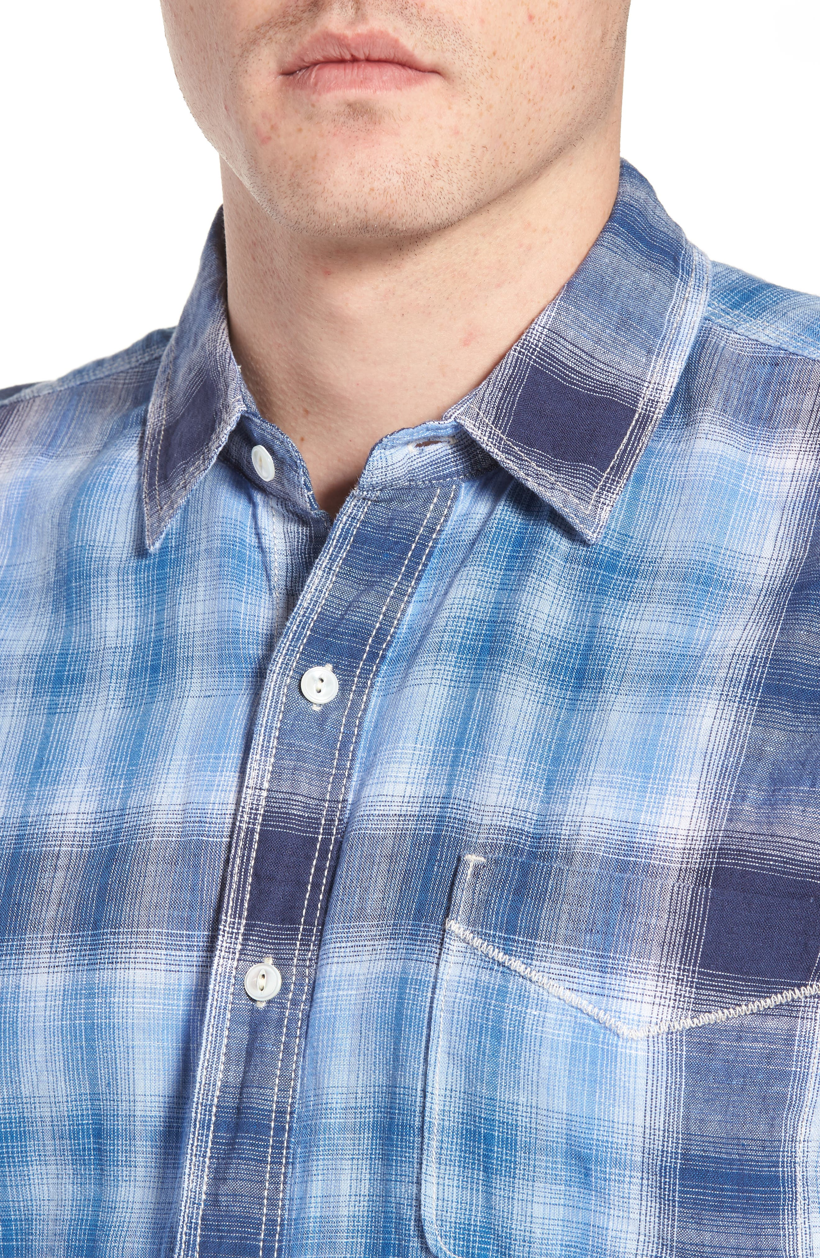 Trestles Linen & Cotton Sport Shirt,                             Alternate thumbnail 4, color,