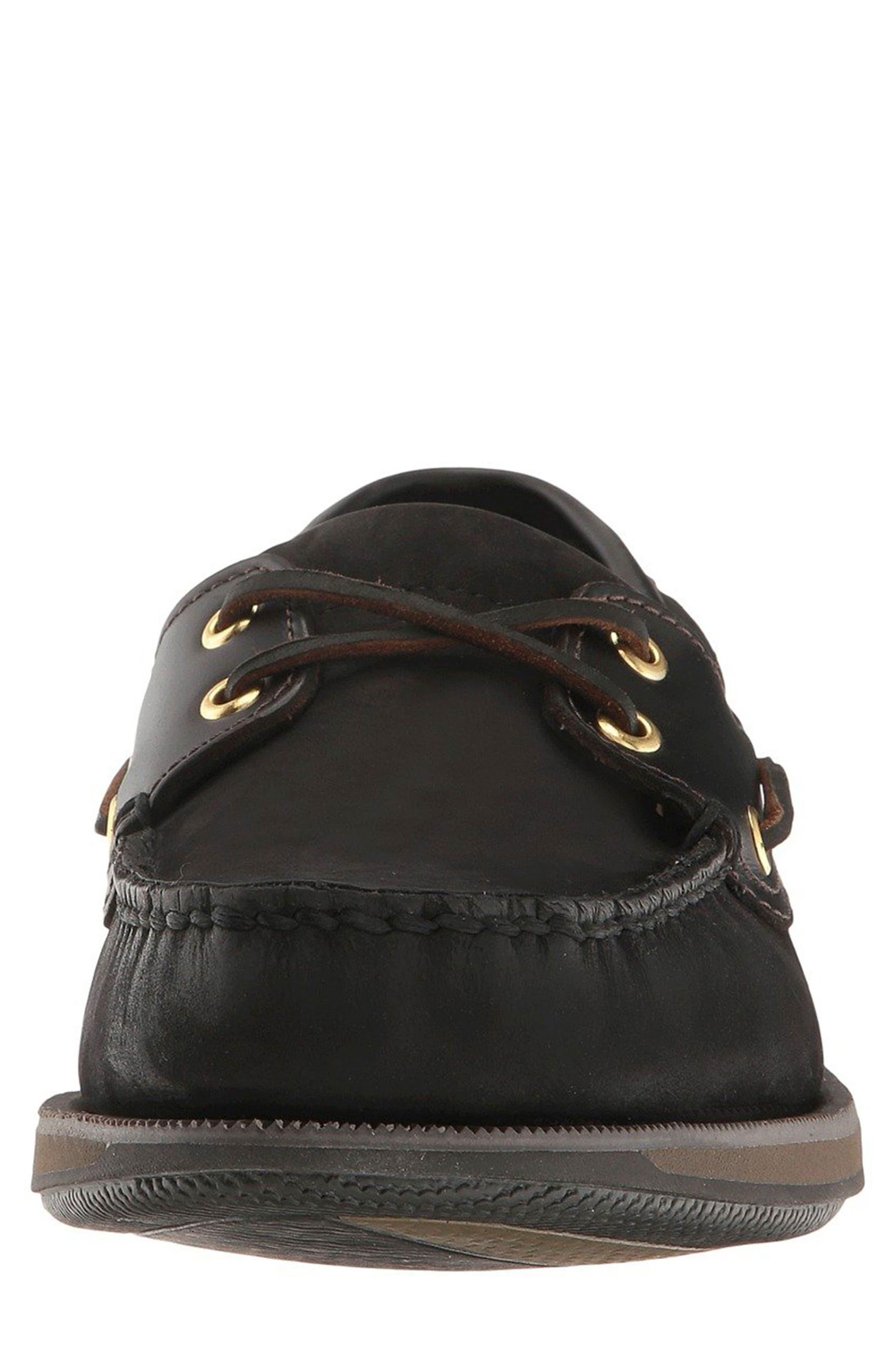 'Perth' Boat Shoe,                             Alternate thumbnail 4, color,                             BLACK/ BARK LEATHER